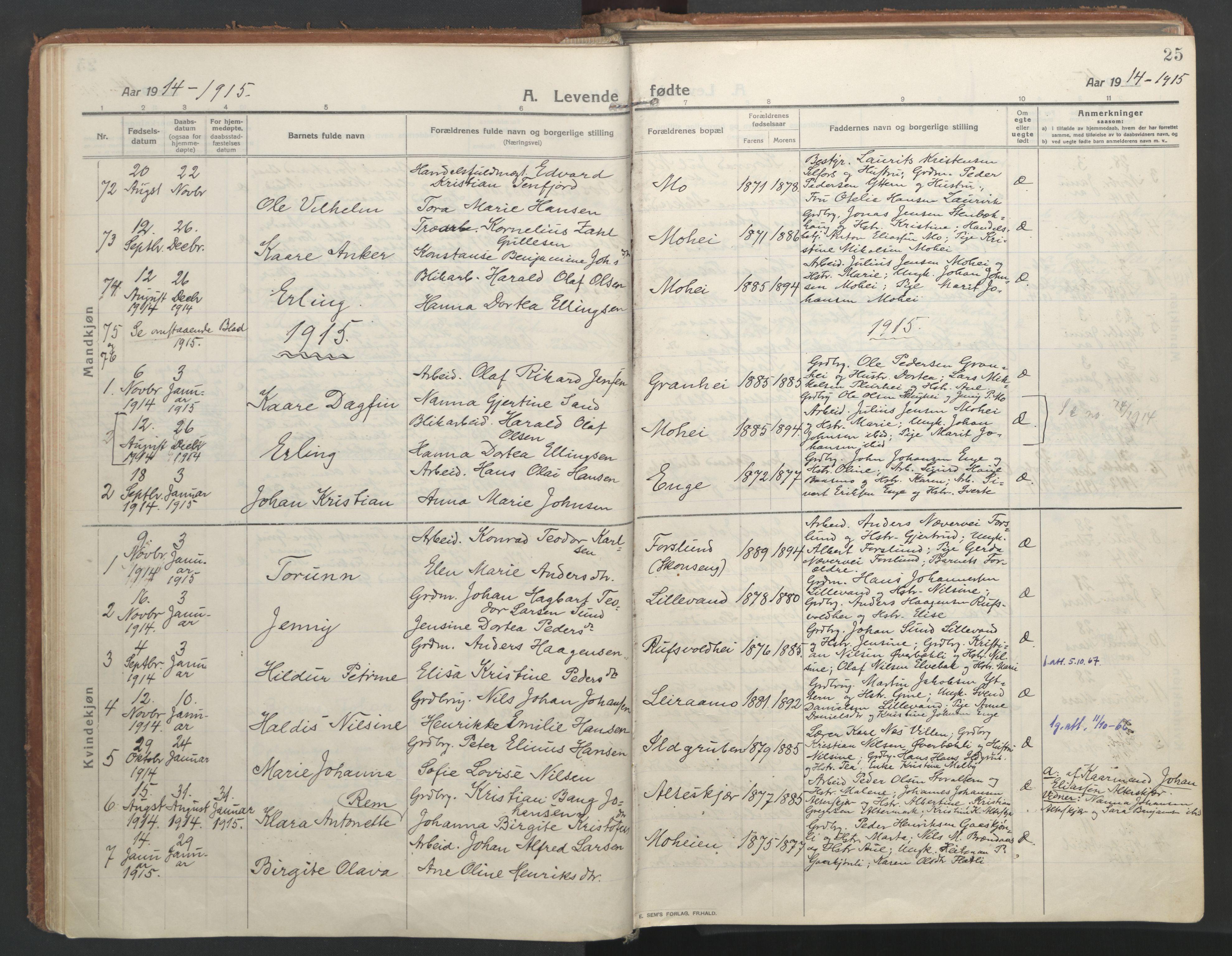 SAT, Ministerialprotokoller, klokkerbøker og fødselsregistre - Nordland, 827/L0404: Ministerialbok nr. 827A16, 1912-1925, s. 25