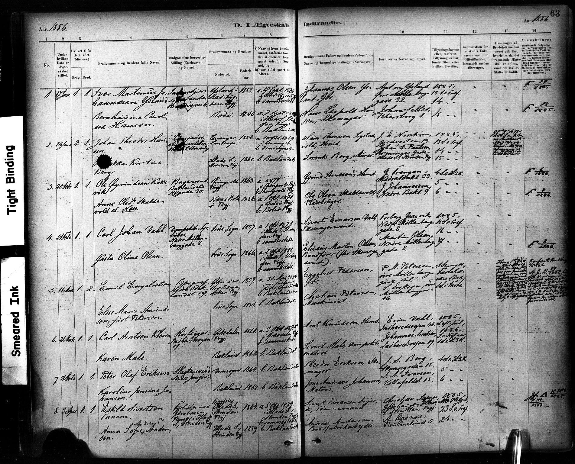 SAT, Ministerialprotokoller, klokkerbøker og fødselsregistre - Sør-Trøndelag, 604/L0189: Ministerialbok nr. 604A10, 1878-1892, s. 63
