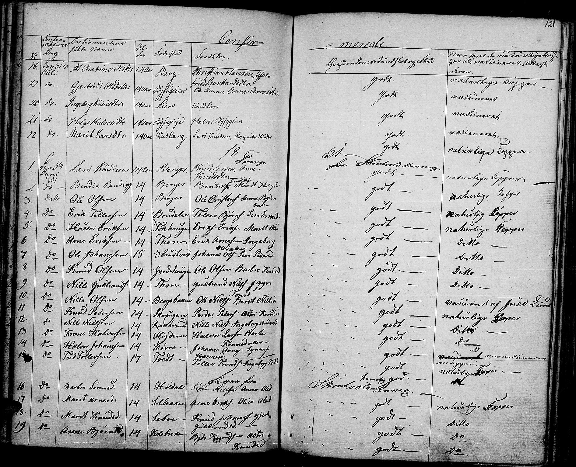 SAH, Nord-Aurdal prestekontor, Ministerialbok nr. 3, 1828-1841, s. 121