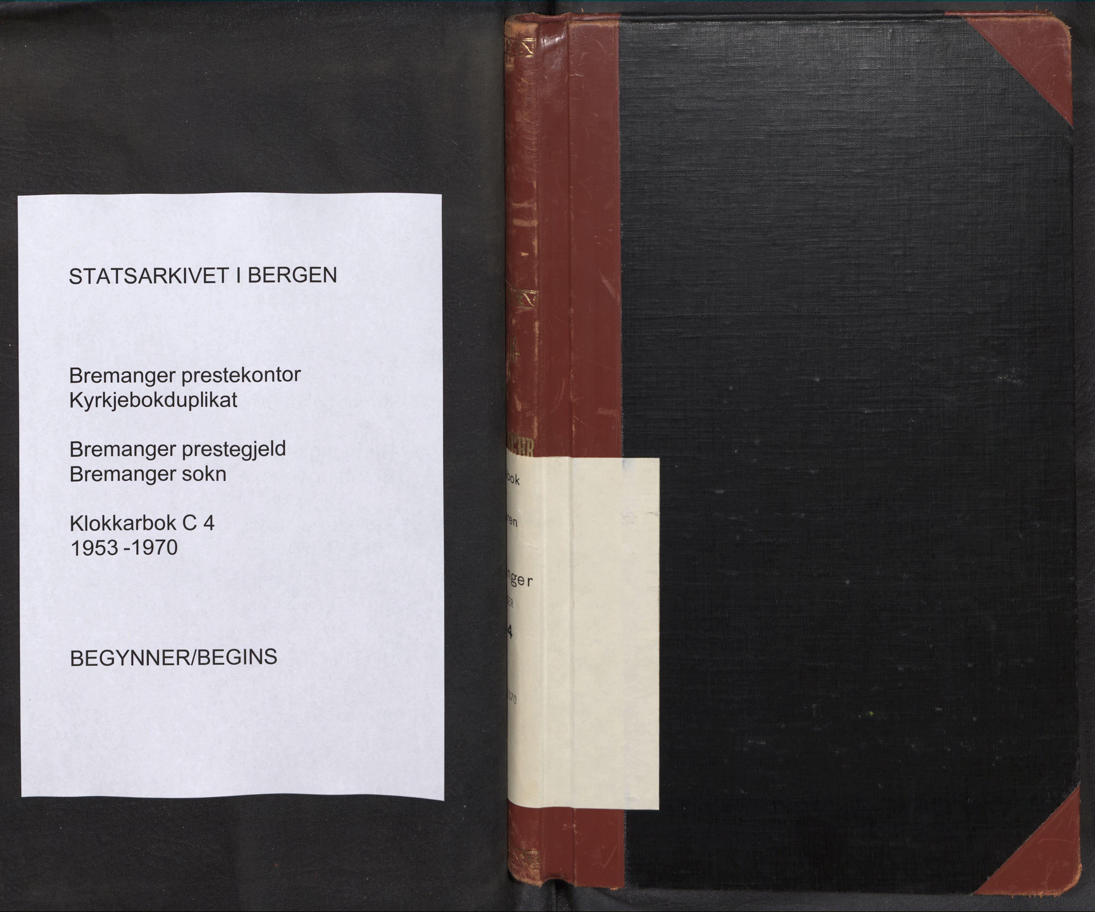 SAB, Bremanger Sokneprestembete, H/Hab: Klokkerbok nr. C 4, 1953-1970