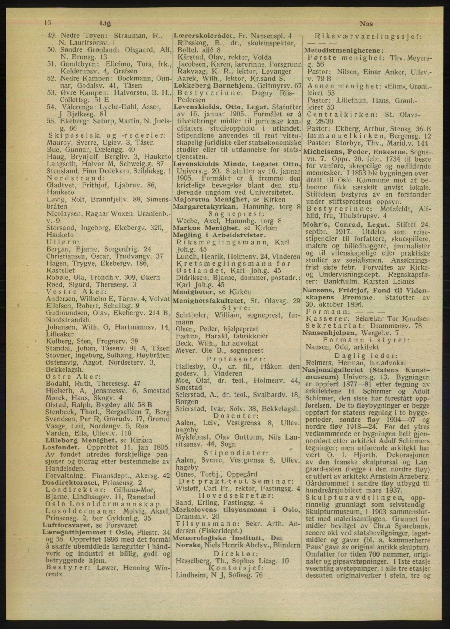 RA, Oslo adressebok (publikasjon)*, 1949, s. 16