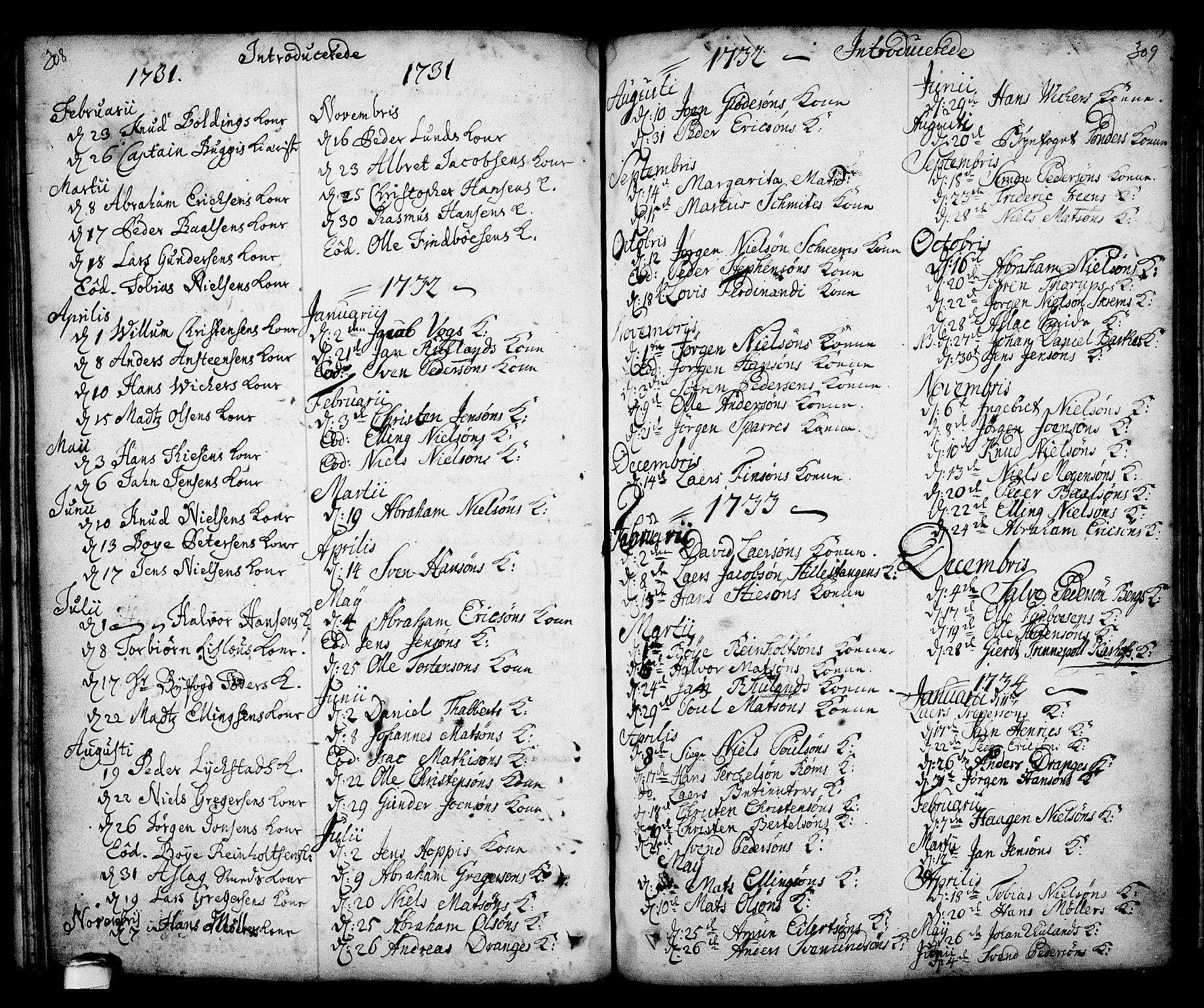 SAKO, Kragerø kirkebøker, F/Fa/L0001: Ministerialbok nr. 1, 1702-1766, s. 308-309