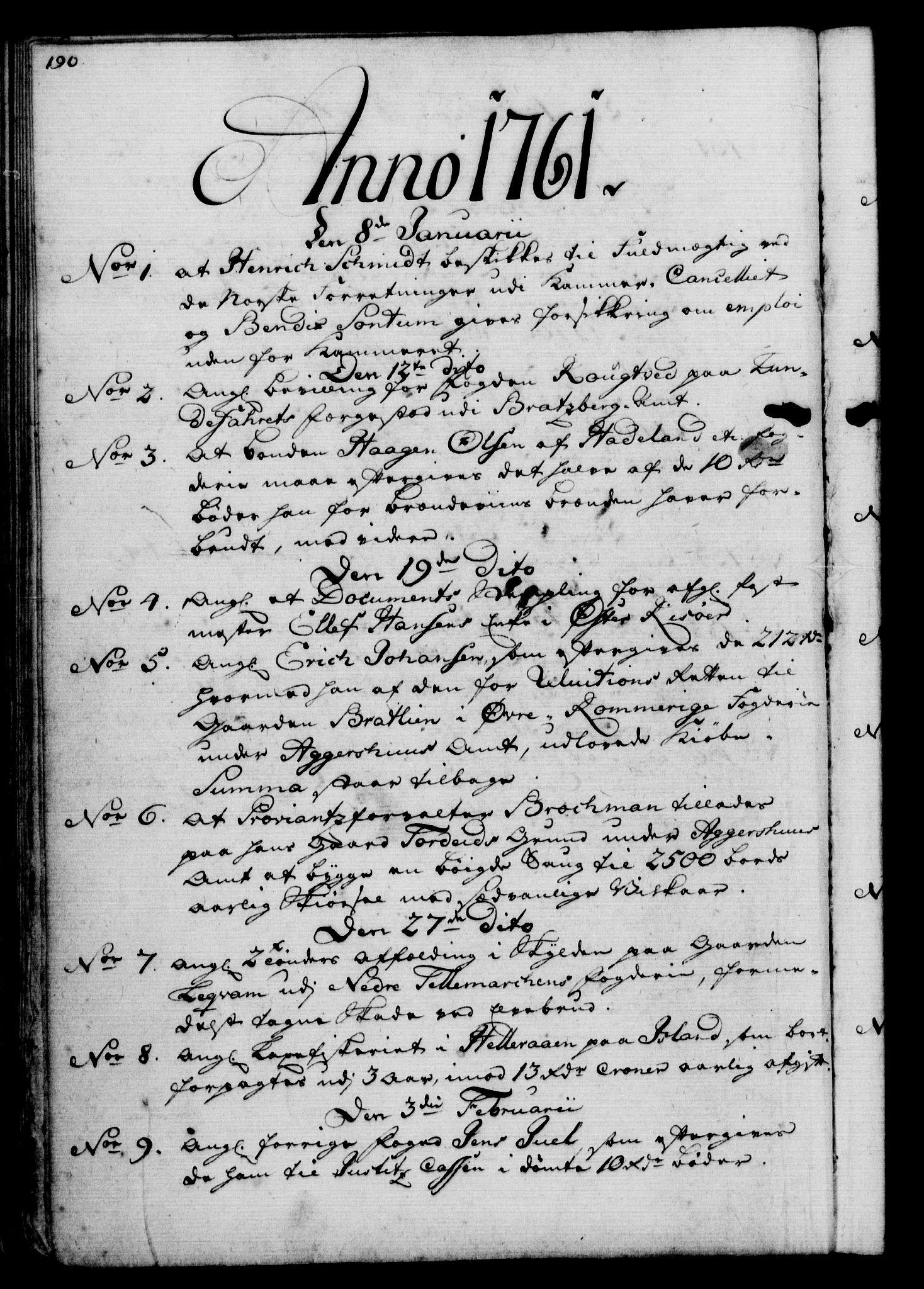 RA, Rentekammeret, Kammerkanselliet, G/Gf/Gfb/L0006: Register til norske relasjons- og resolusjonsprotokoller (merket RK 52.101), 1755-1765, s. 190