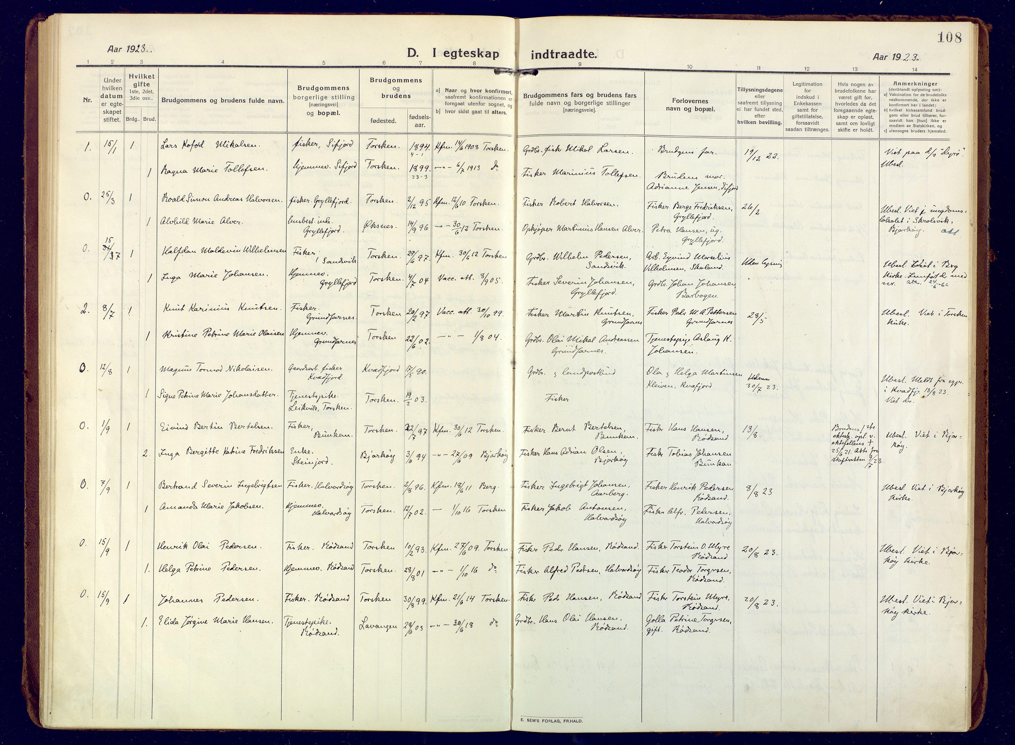 SATØ, Mefjord/Berg sokneprestkontor, G/Ga/Gaa: Ministerialbok nr. 10, 1916-1928, s. 108