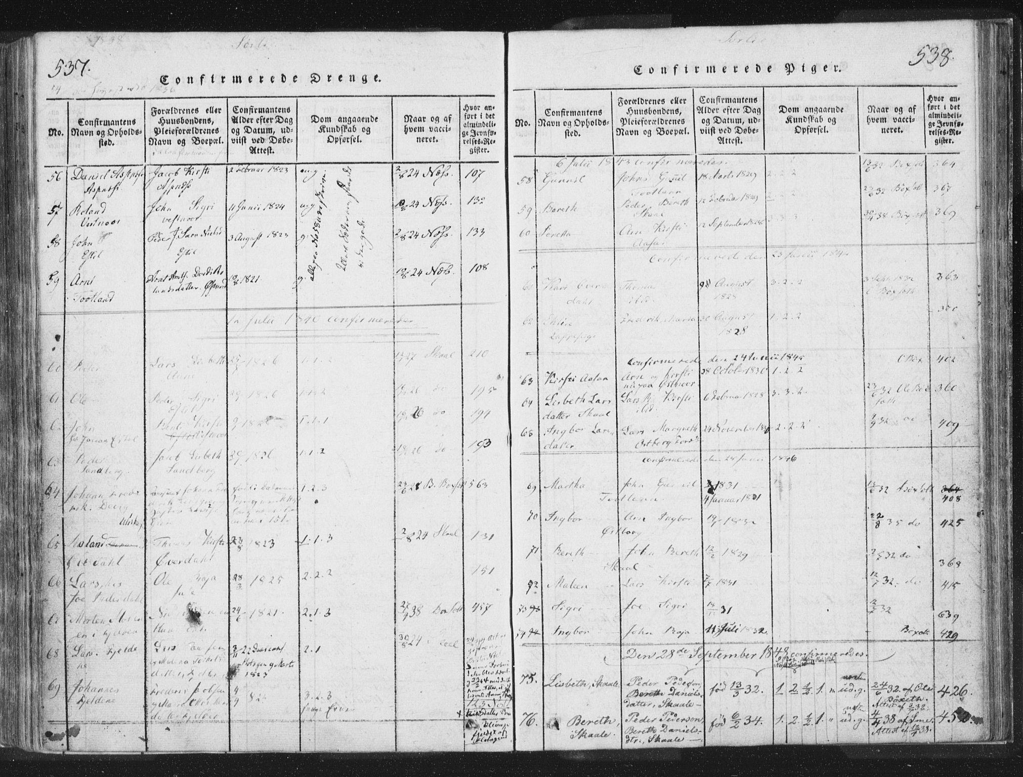 SAT, Ministerialprotokoller, klokkerbøker og fødselsregistre - Nord-Trøndelag, 755/L0491: Ministerialbok nr. 755A01 /2, 1817-1864, s. 537-538