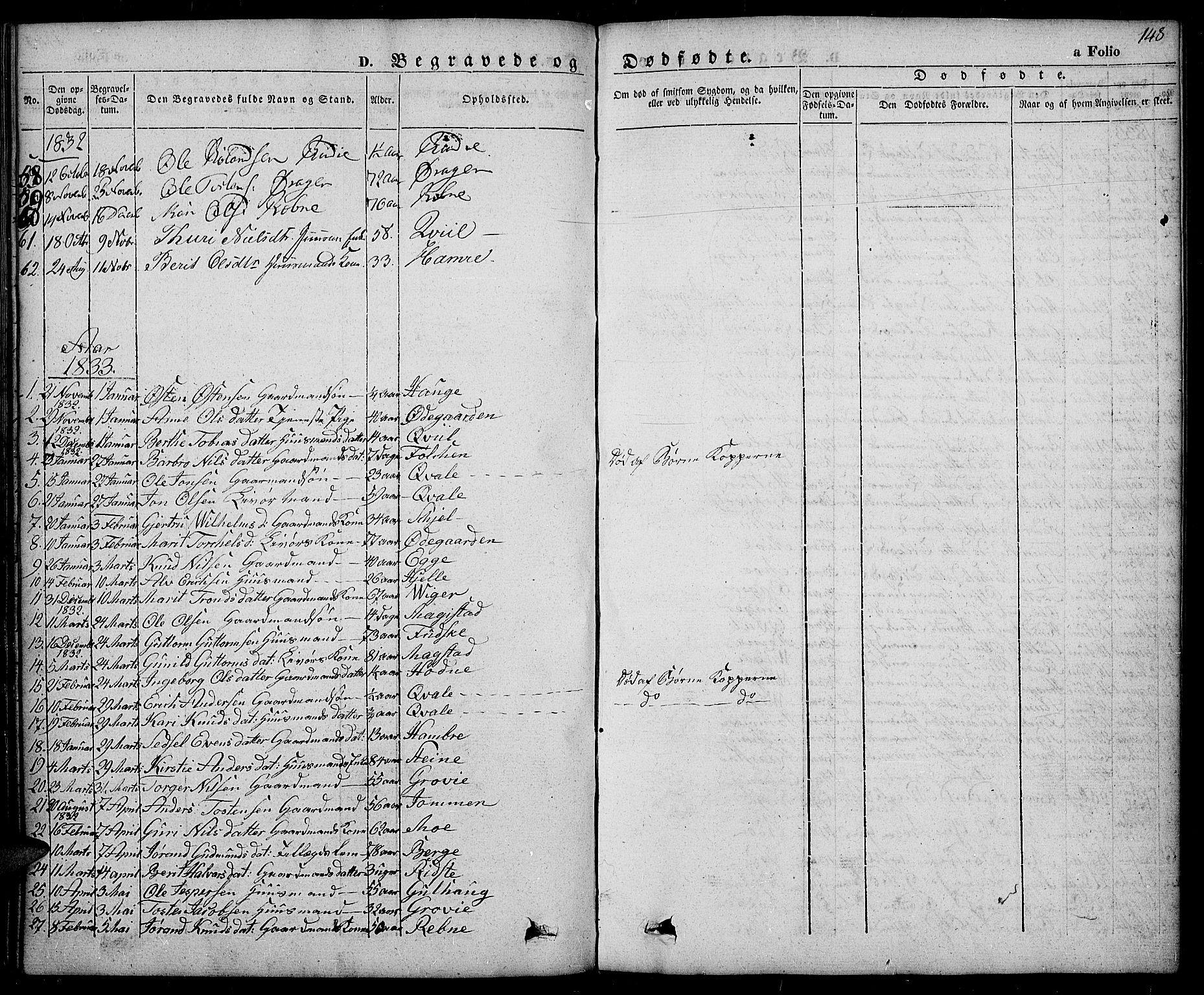 SAH, Slidre prestekontor, Ministerialbok nr. 3, 1831-1843, s. 148