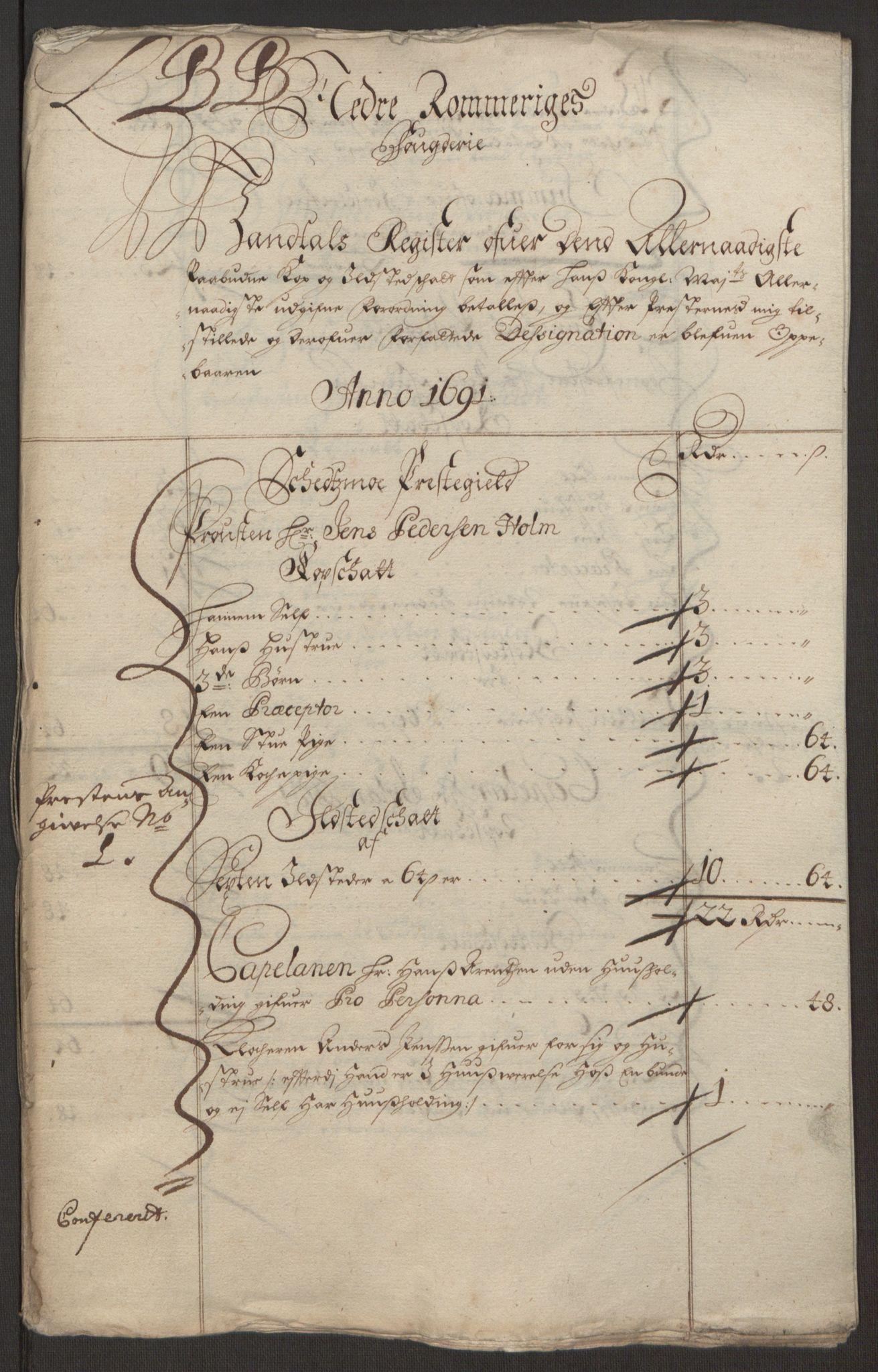 RA, Rentekammeret inntil 1814, Reviderte regnskaper, Fogderegnskap, R11/L0575: Fogderegnskap Nedre Romerike, 1691, s. 153