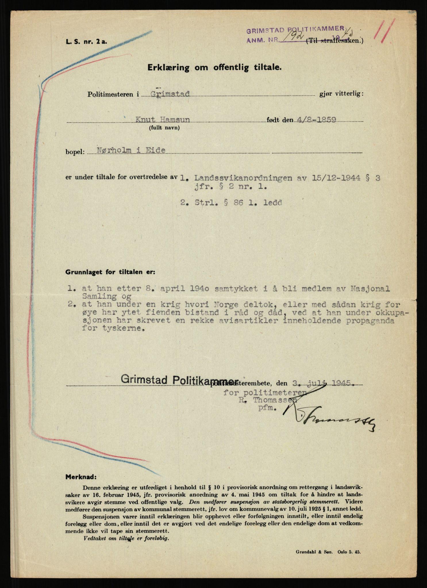 RA, Landssvikarkivet, Arendal politikammer, D/Dc/L0029: Anr. 192/45, 1945-1951, s. 82