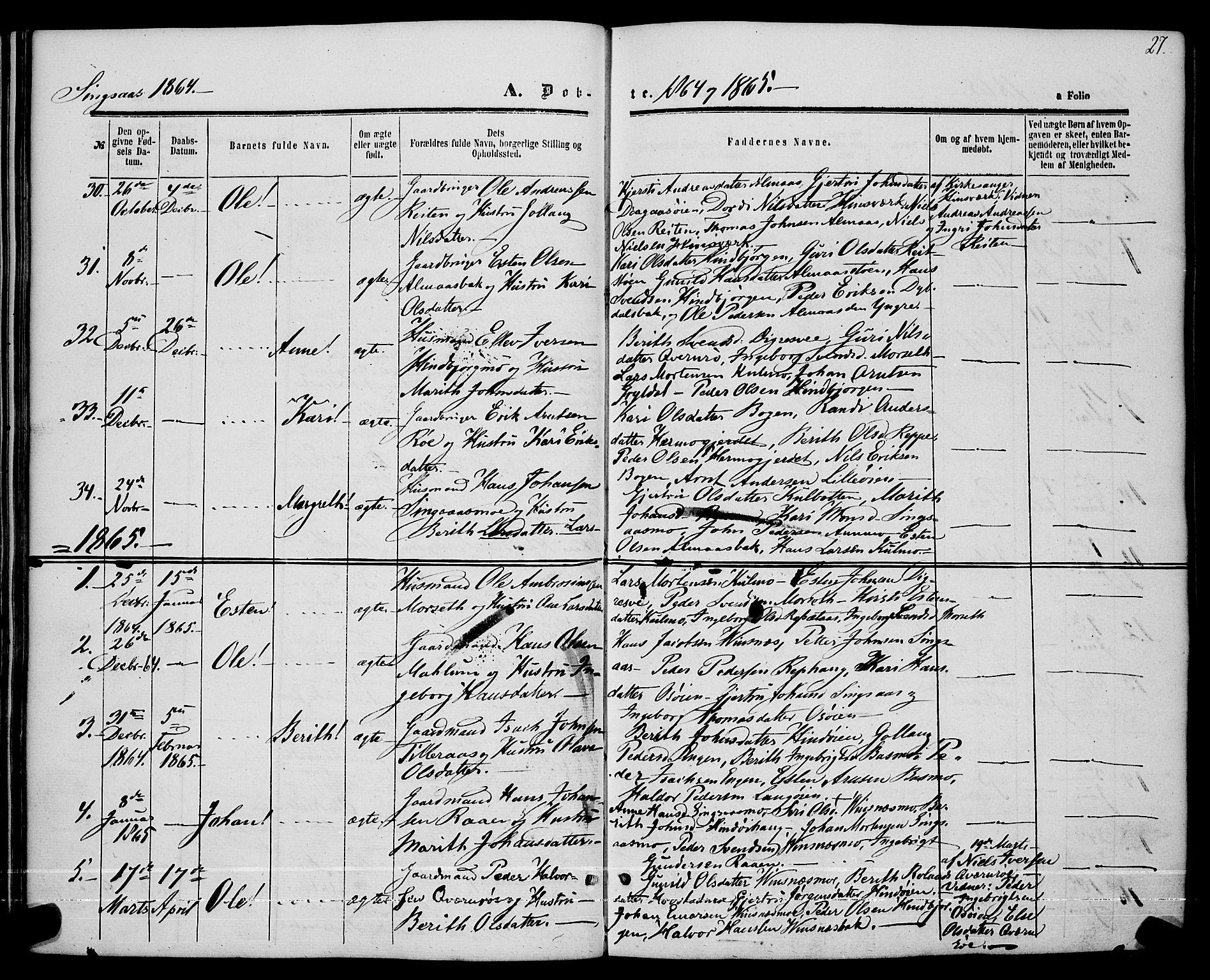 SAT, Ministerialprotokoller, klokkerbøker og fødselsregistre - Sør-Trøndelag, 685/L0967: Ministerialbok nr. 685A07 /2, 1860-1869, s. 27
