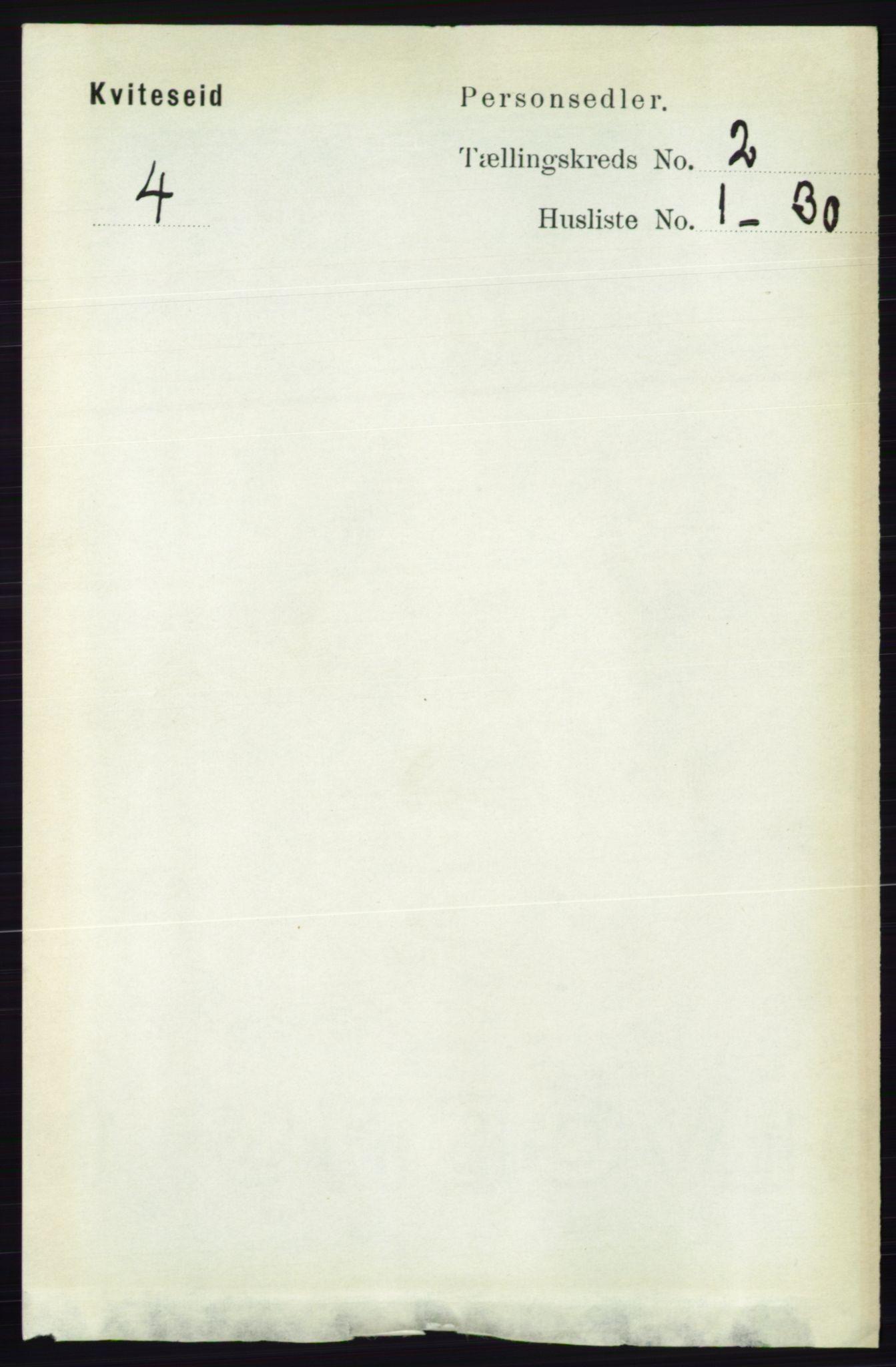 RA, Folketelling 1891 for 0829 Kviteseid herred, 1891, s. 291