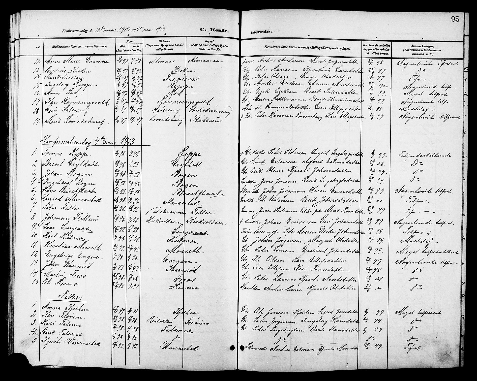 SAT, Ministerialprotokoller, klokkerbøker og fødselsregistre - Sør-Trøndelag, 688/L1029: Klokkerbok nr. 688C04, 1899-1915, s. 95