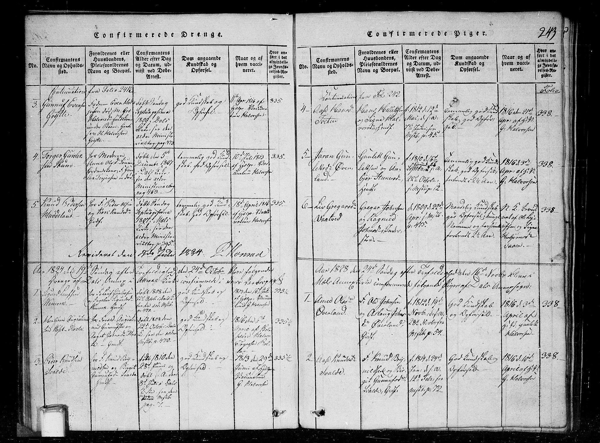 SAKO, Tinn kirkebøker, G/Gc/L0001: Klokkerbok nr. III 1, 1815-1879, s. 243
