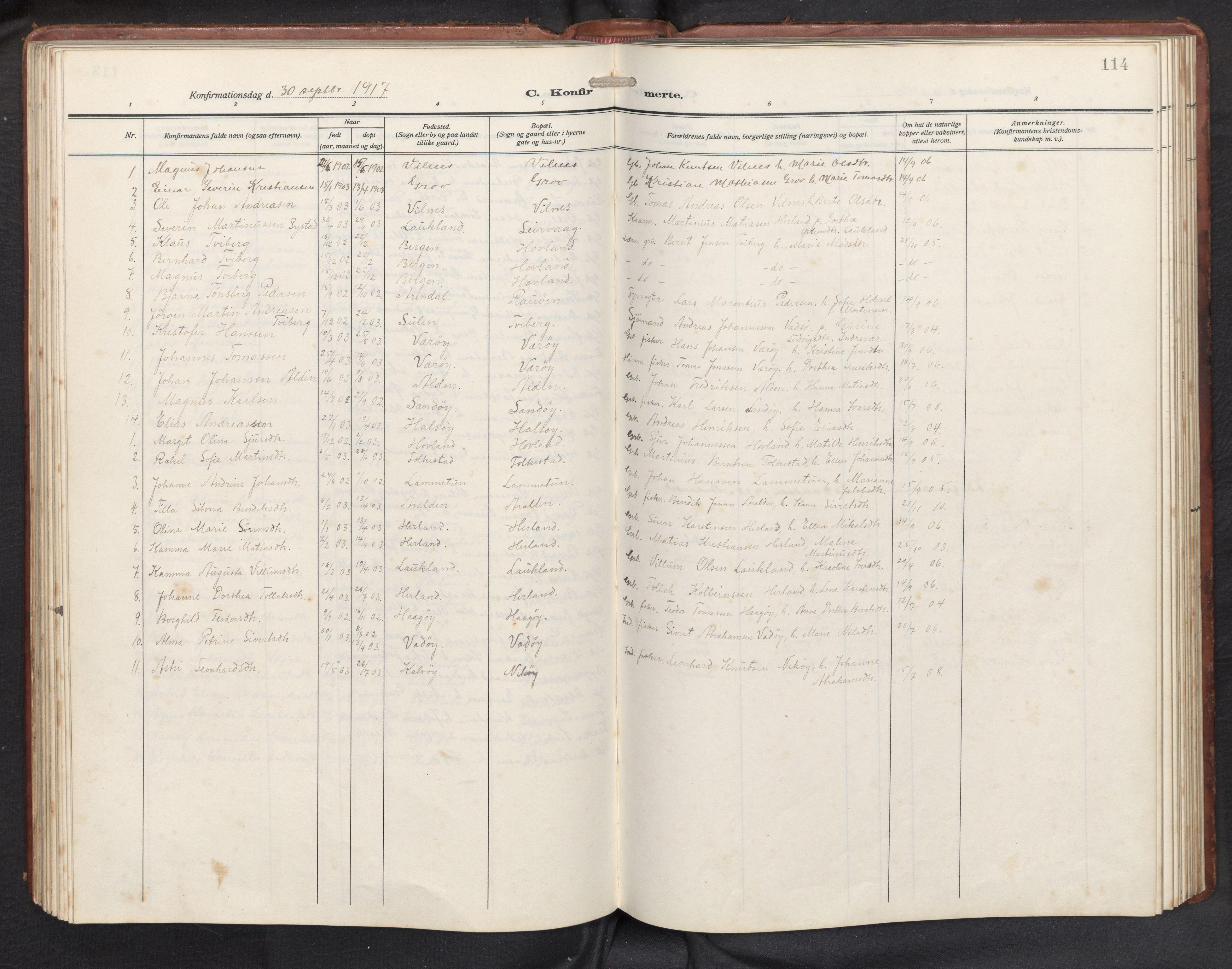 SAB, Askvoll sokneprestembete, H/Hab/Habb/L0002: Klokkerbok nr. B 2, 1910-1947, s. 113b-114a