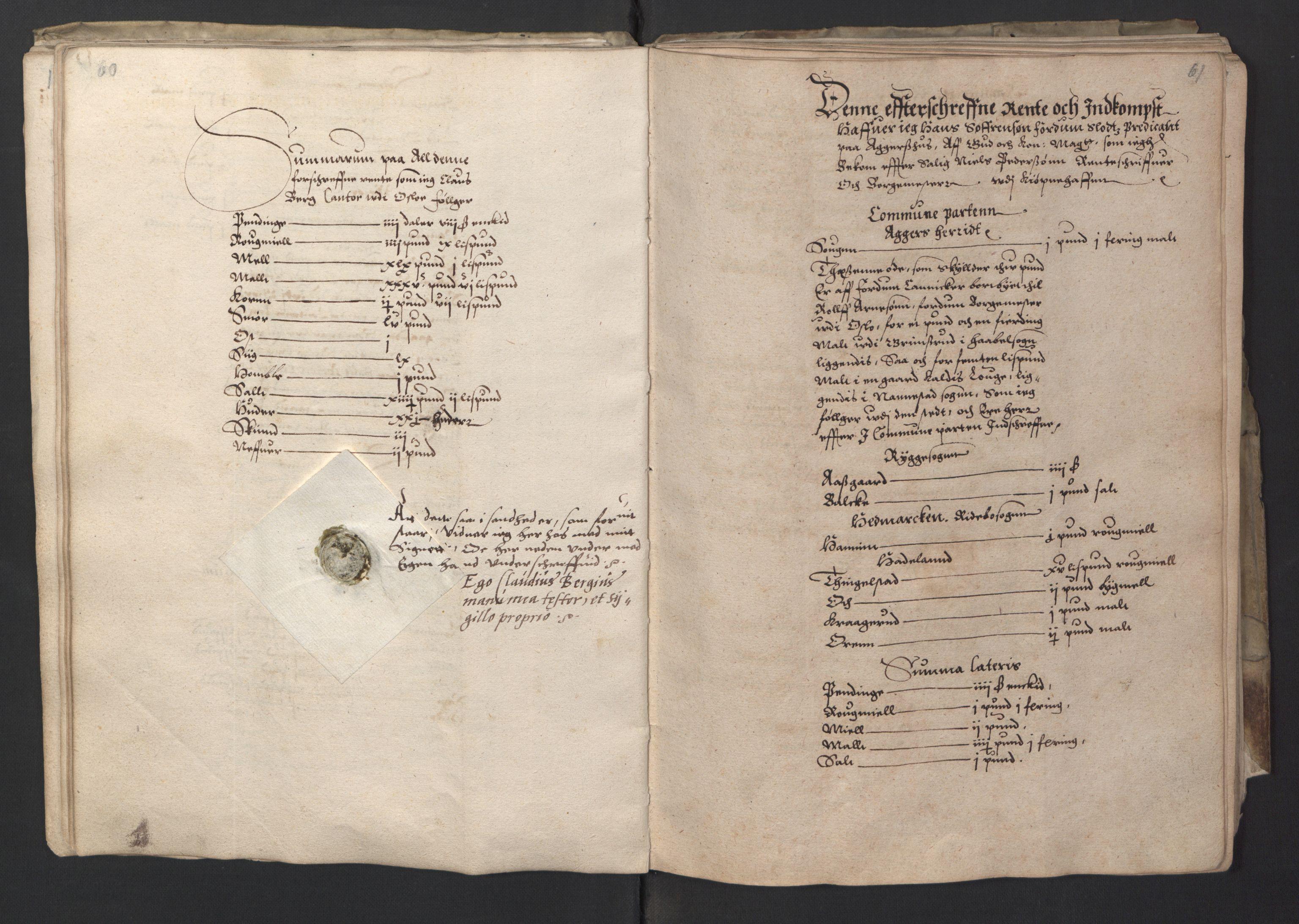 RA, Stattholderembetet 1572-1771, Ek/L0001: Jordebøker før 1624 og til utligning av garnisonsskatt 1624-1626:, 1595, s. 60-61