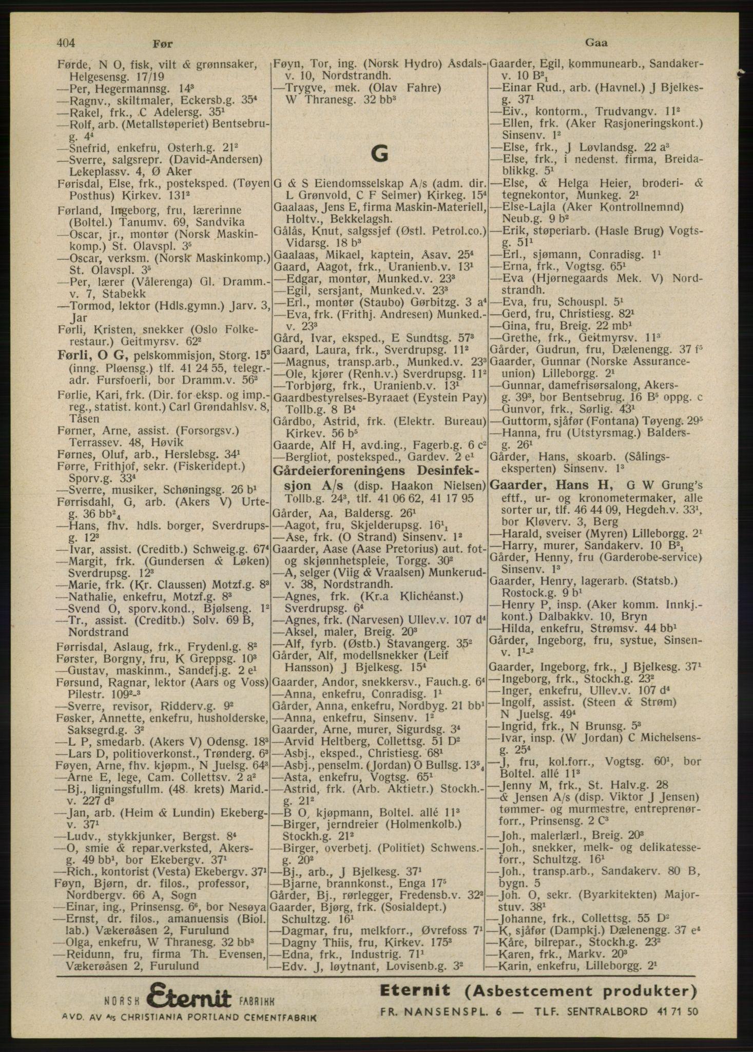 RA, Oslo adressebok (publikasjon)*, 1947, s. 404