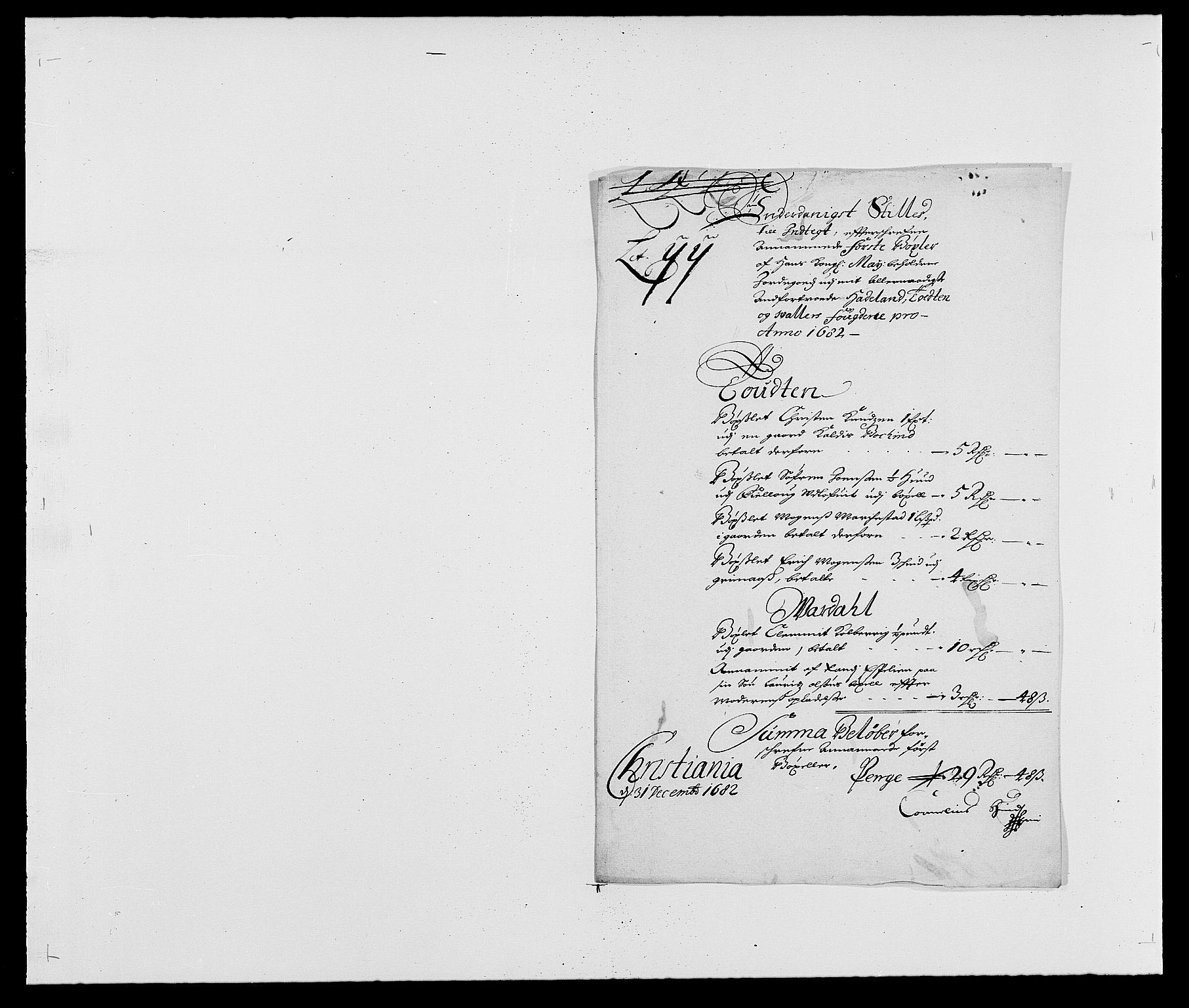 RA, Rentekammeret inntil 1814, Reviderte regnskaper, Fogderegnskap, R18/L1280: Fogderegnskap Hadeland, Toten og Valdres, 1682, s. 148