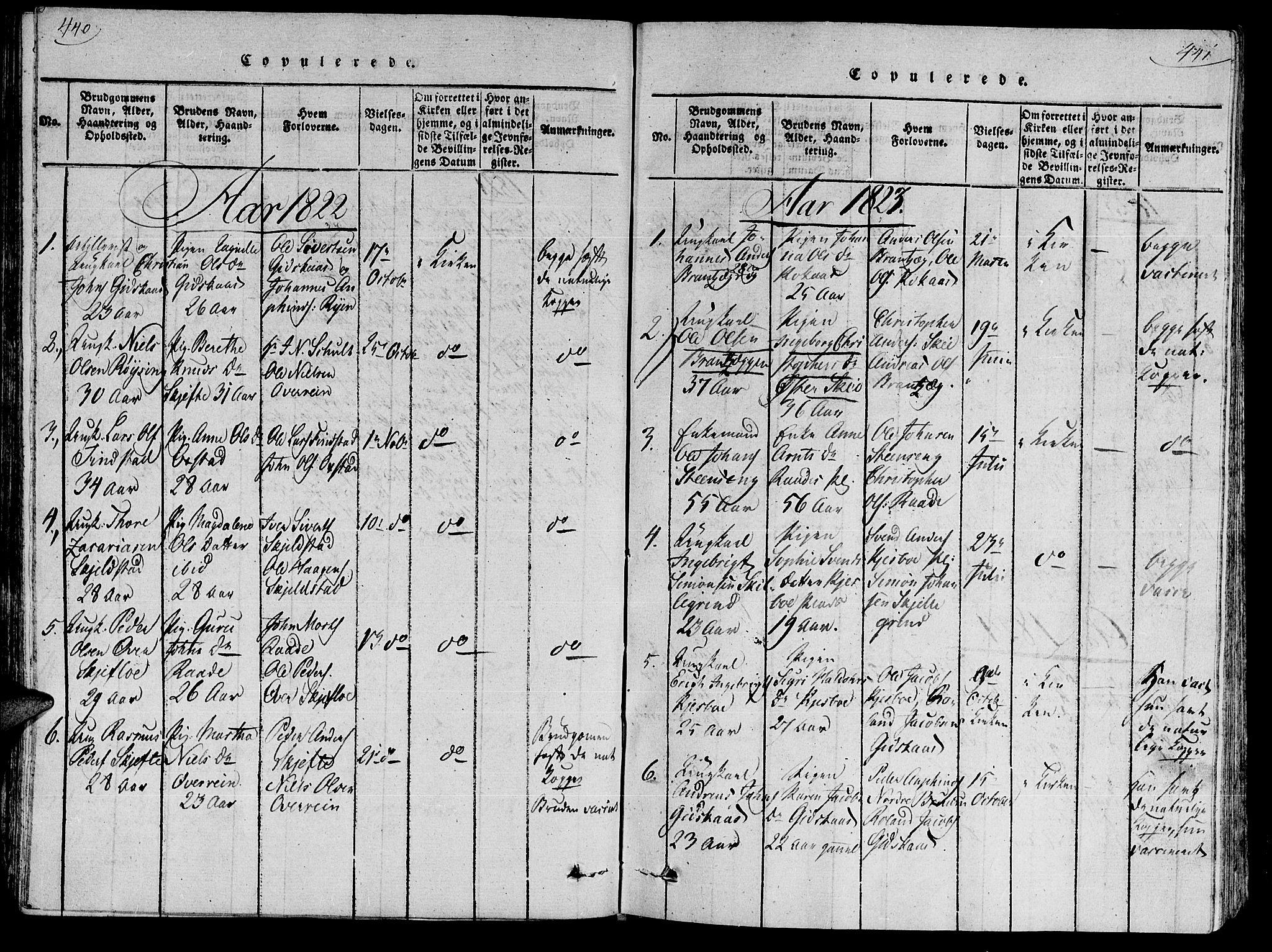SAT, Ministerialprotokoller, klokkerbøker og fødselsregistre - Nord-Trøndelag, 735/L0333: Ministerialbok nr. 735A04 /2, 1816-1825, s. 440-441