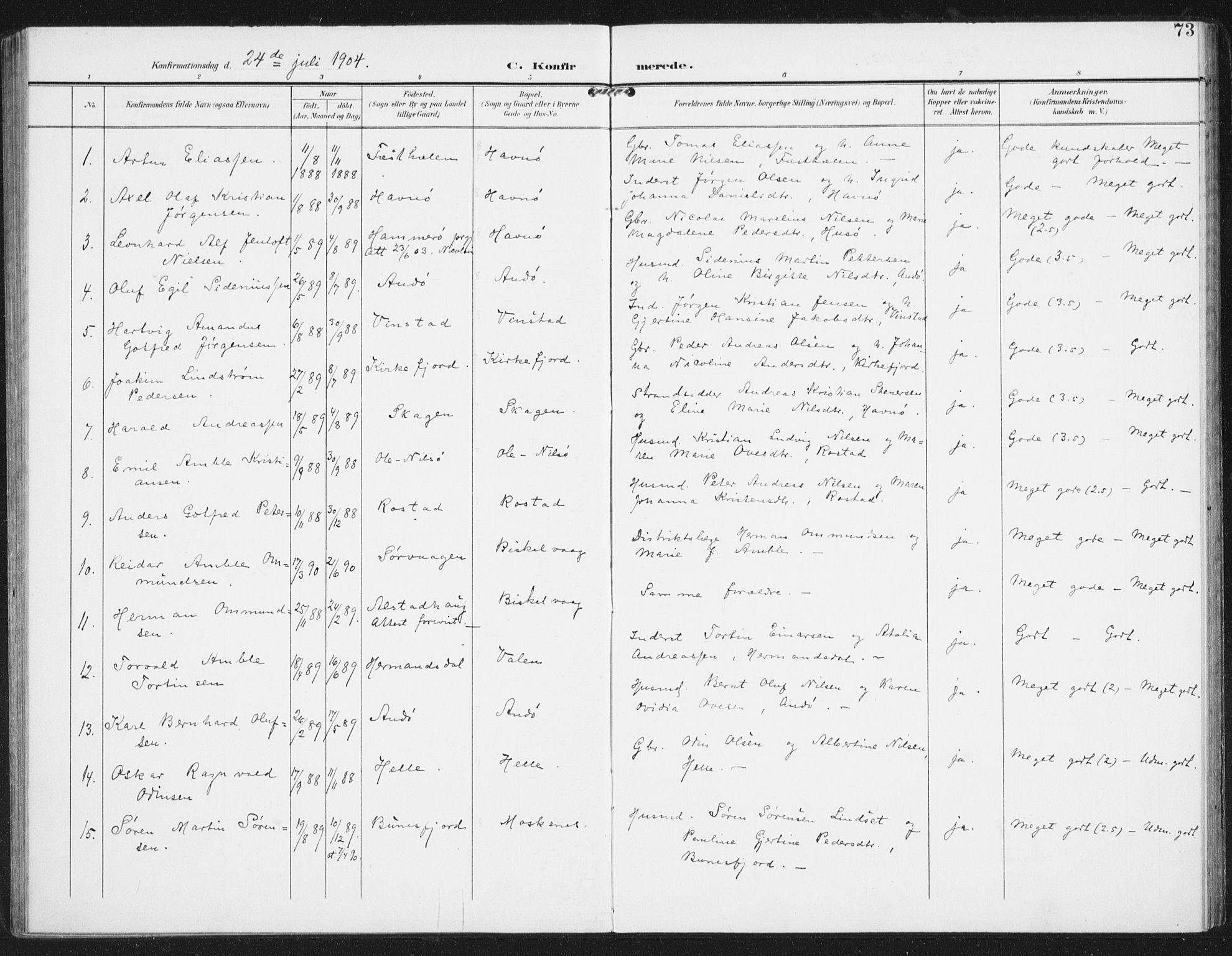 SAT, Ministerialprotokoller, klokkerbøker og fødselsregistre - Nordland, 886/L1221: Ministerialbok nr. 886A03, 1903-1913, s. 73