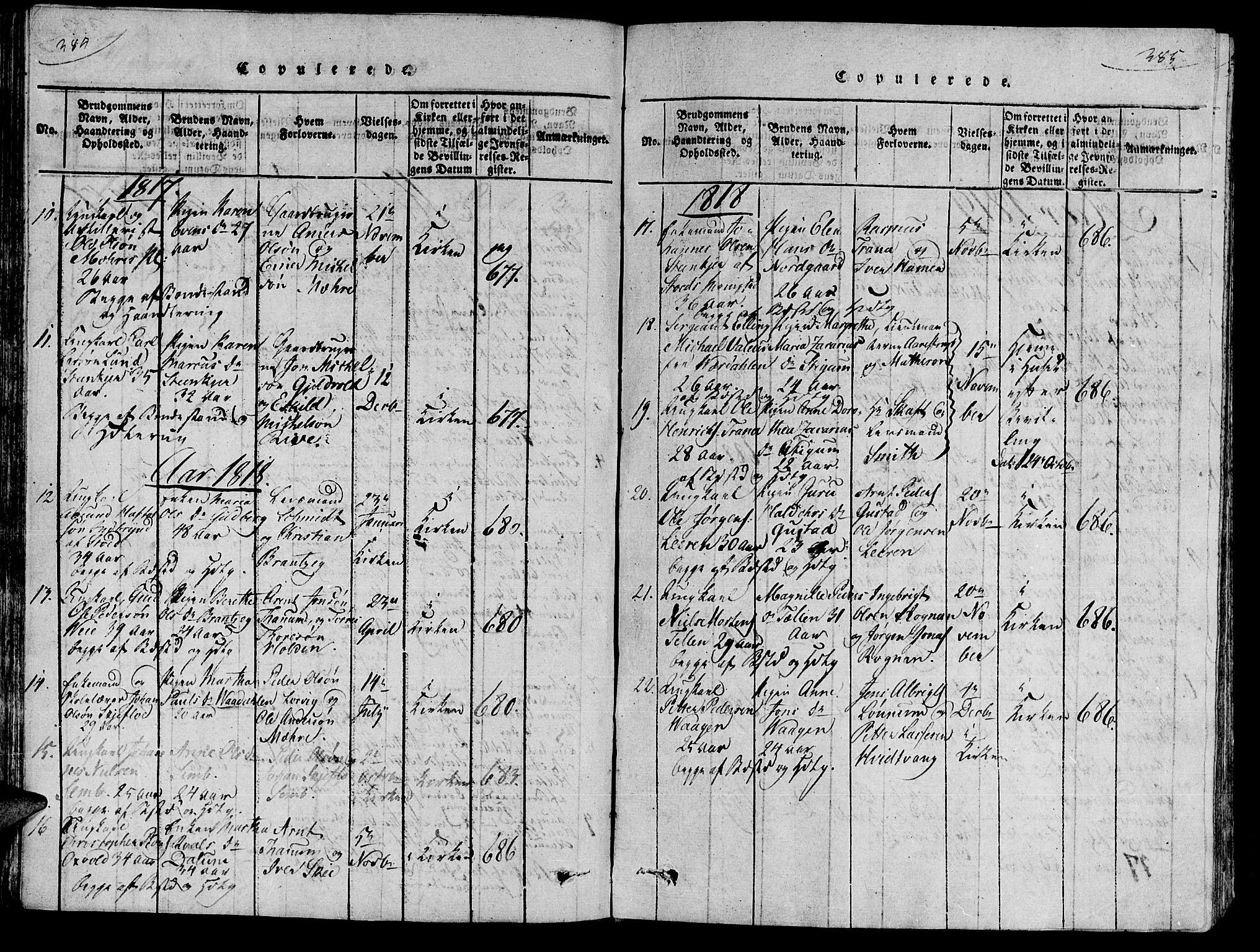 SAT, Ministerialprotokoller, klokkerbøker og fødselsregistre - Nord-Trøndelag, 735/L0333: Ministerialbok nr. 735A04 /1, 1816-1824, s. 384-385