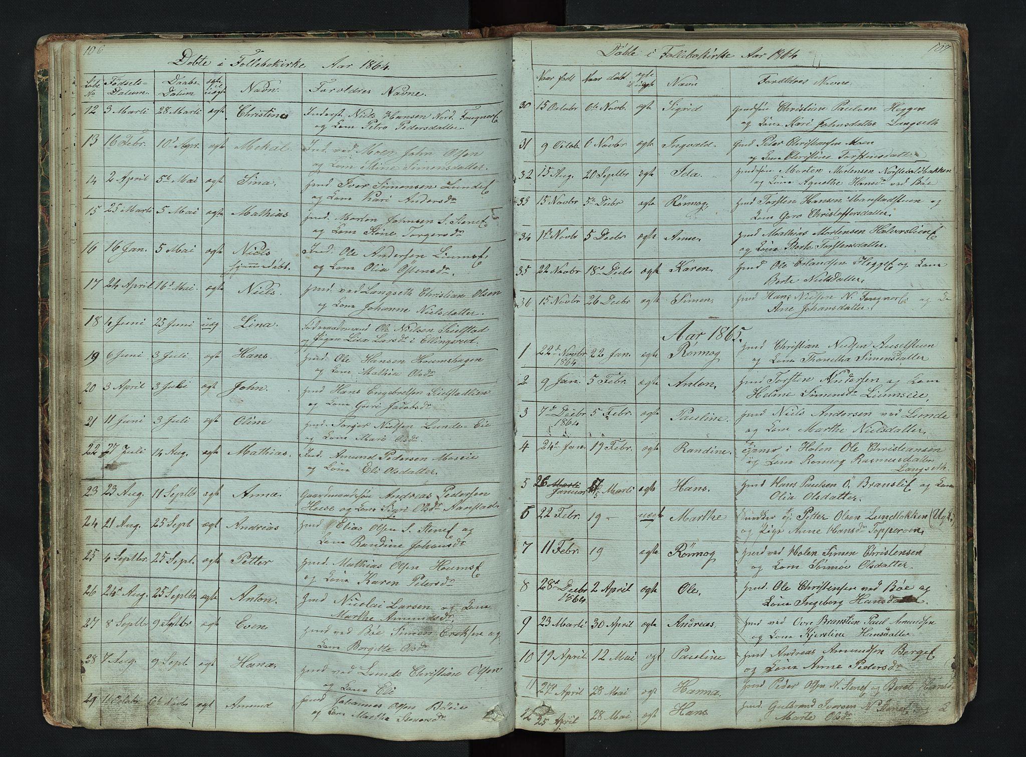 SAH, Gausdal prestekontor, Klokkerbok nr. 6, 1846-1893, s. 106-107
