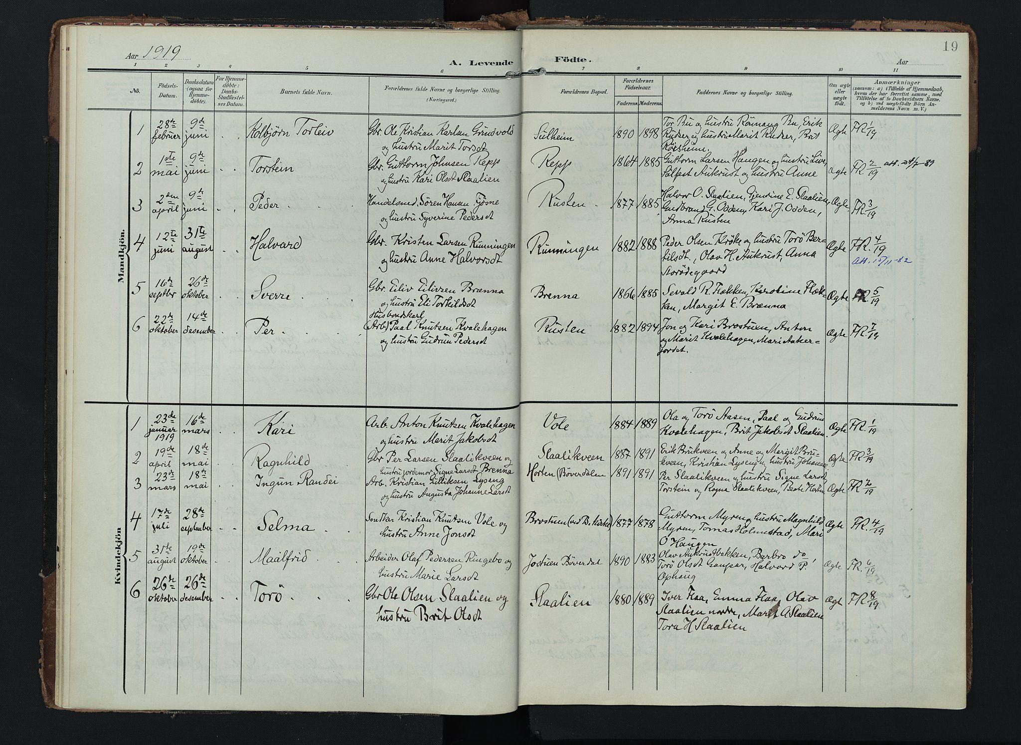 SAH, Lom prestekontor, K/L0012: Ministerialbok nr. 12, 1904-1928, s. 19