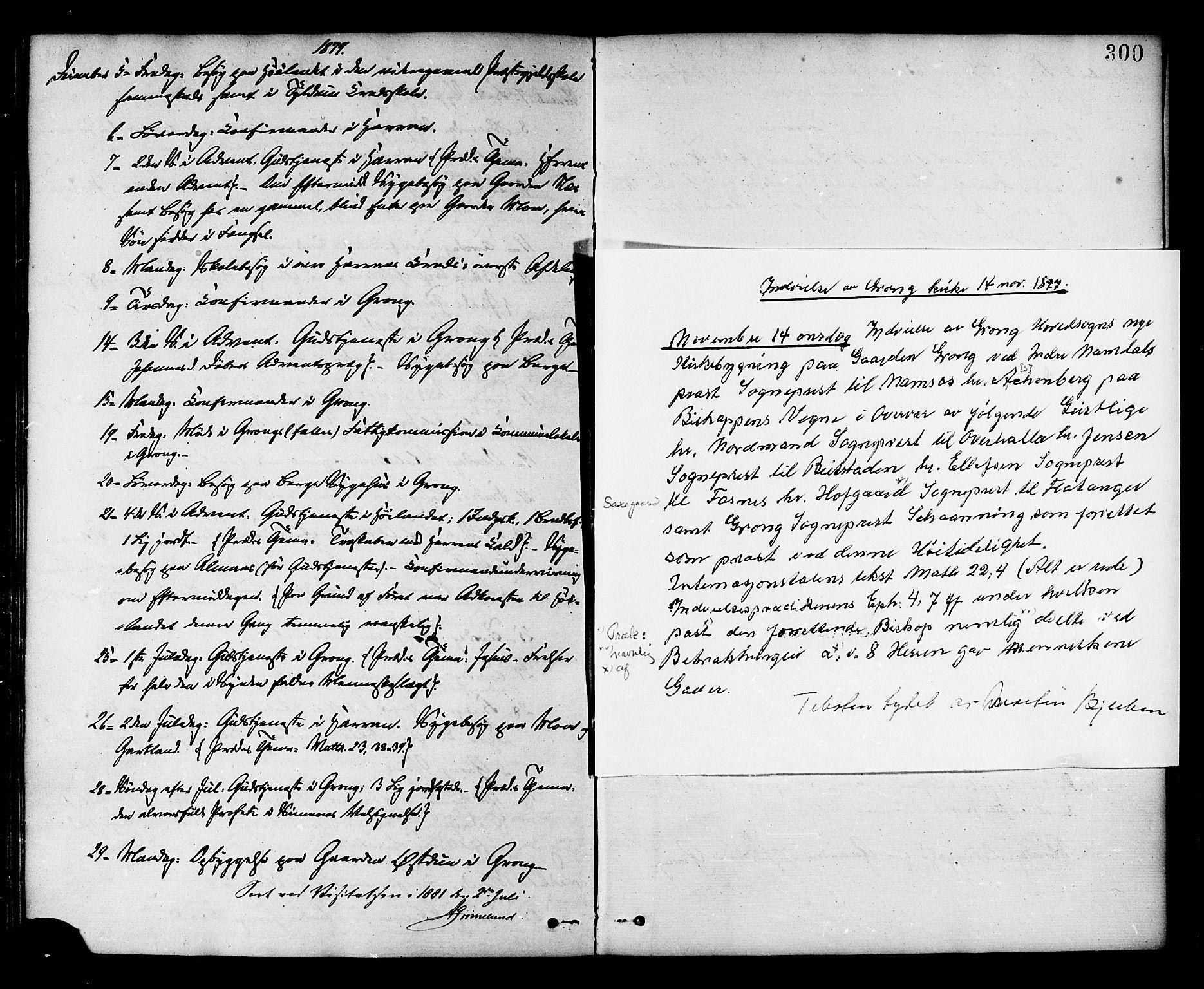 SAT, Ministerialprotokoller, klokkerbøker og fødselsregistre - Nord-Trøndelag, 758/L0516: Ministerialbok nr. 758A03 /1, 1869-1879, s. 300
