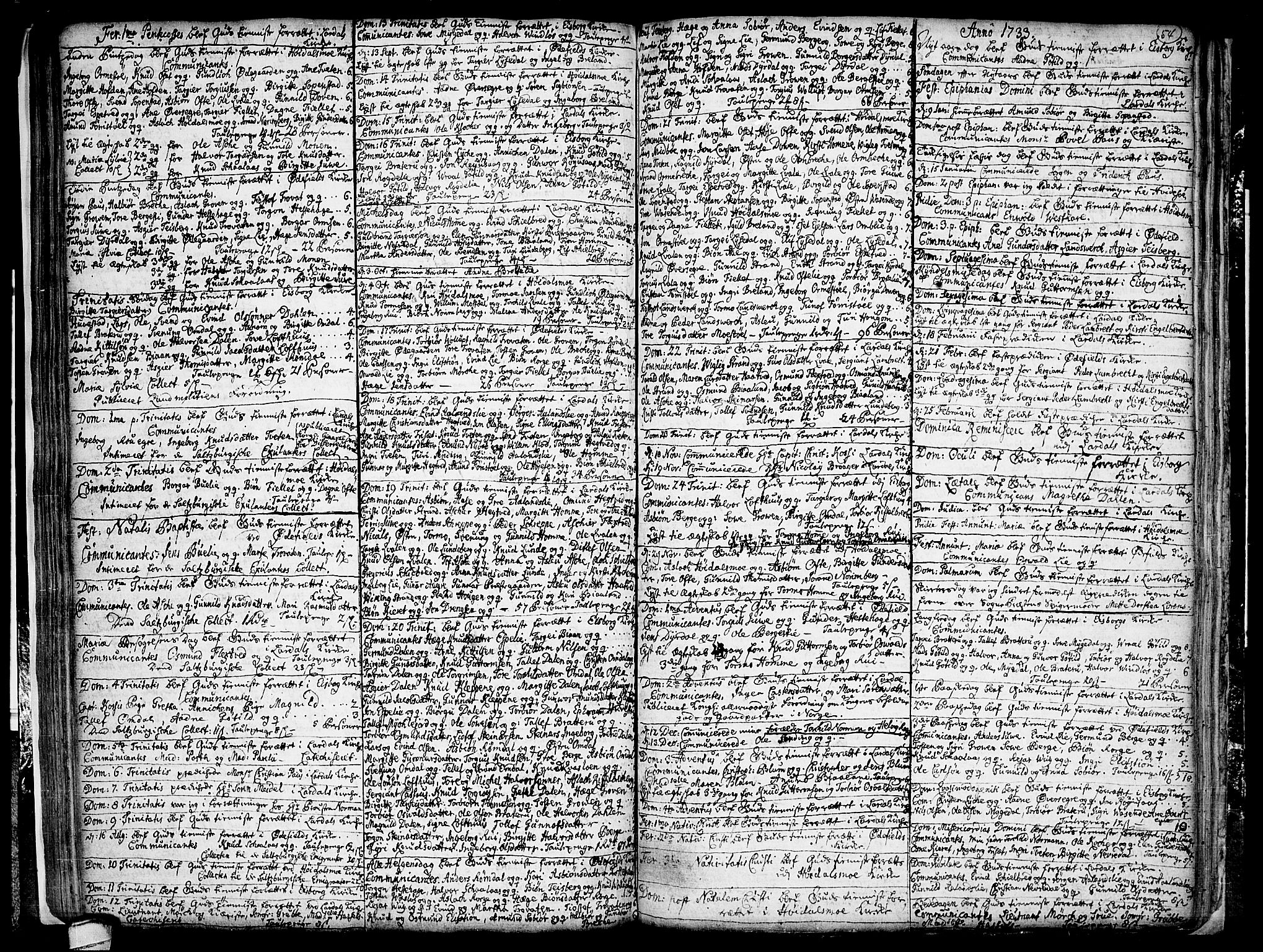 SAKO, Lårdal kirkebøker, F/Fa/L0001: Ministerialbok nr. I 1, 1721-1734, s. 54