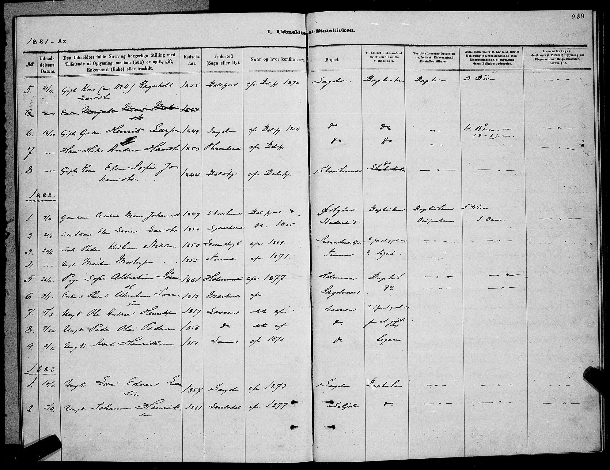 SATØ, Balsfjord sokneprestembete, Klokkerbok nr. 7, 1878-1889, s. 239