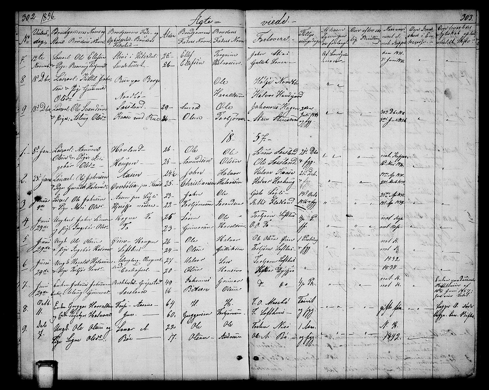 SAKO, Hjartdal kirkebøker, G/Ga/L0002: Klokkerbok nr. I 2, 1854-1888, s. 302-303