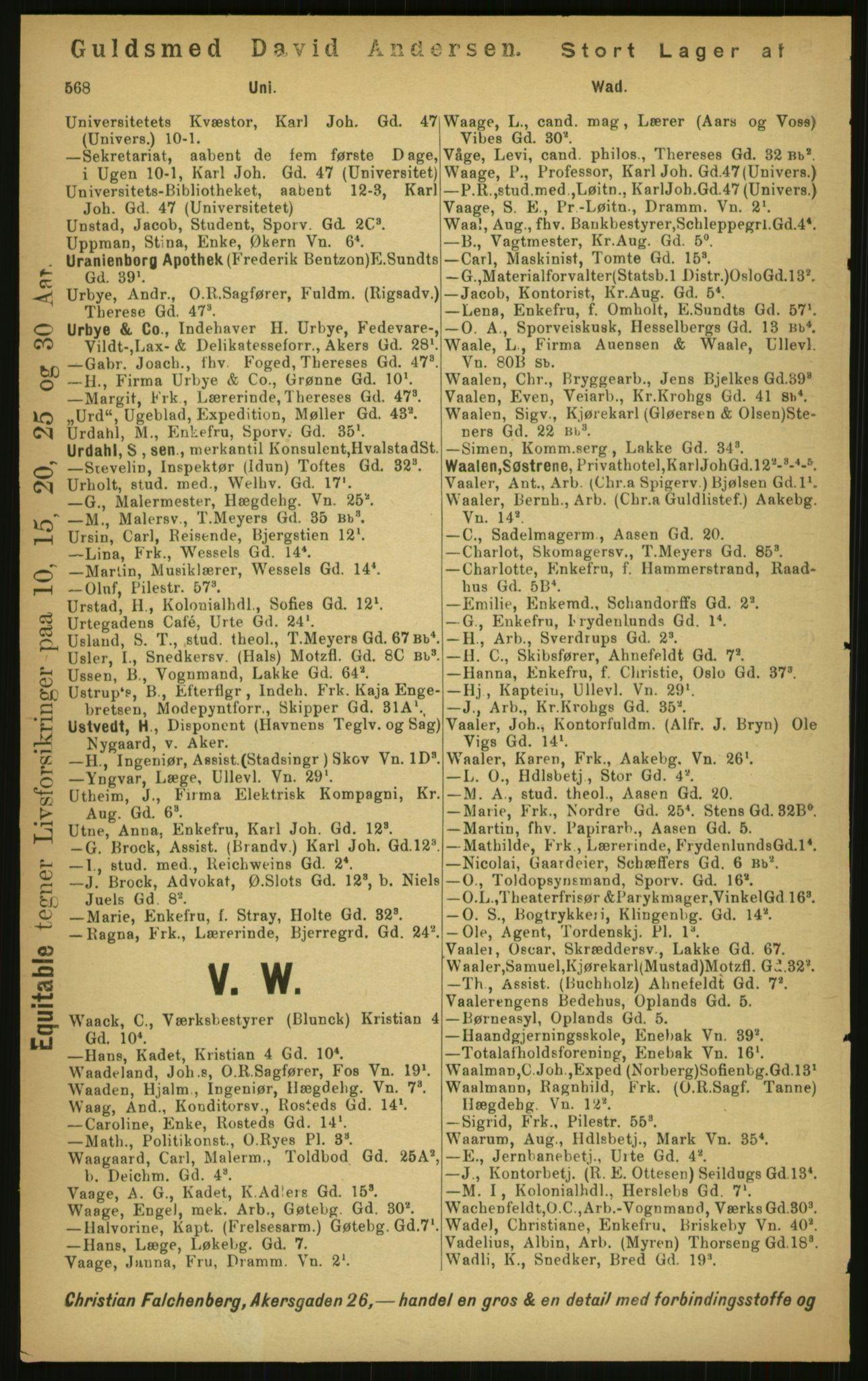 PUBL, Kristiania/Oslo adressebok, 1897, s. 568
