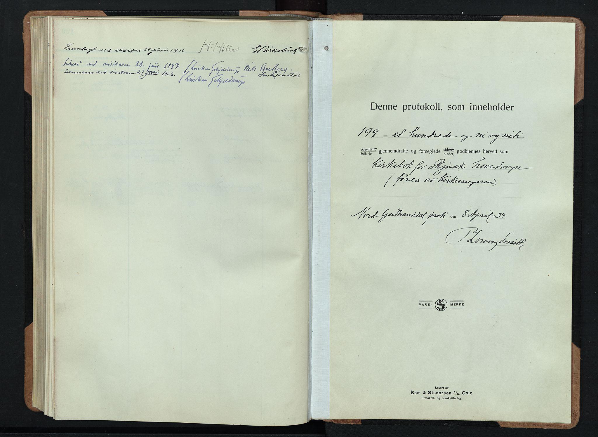 SAH, Skjåk prestekontor, Klokkerbok nr. 6, 1933-1954