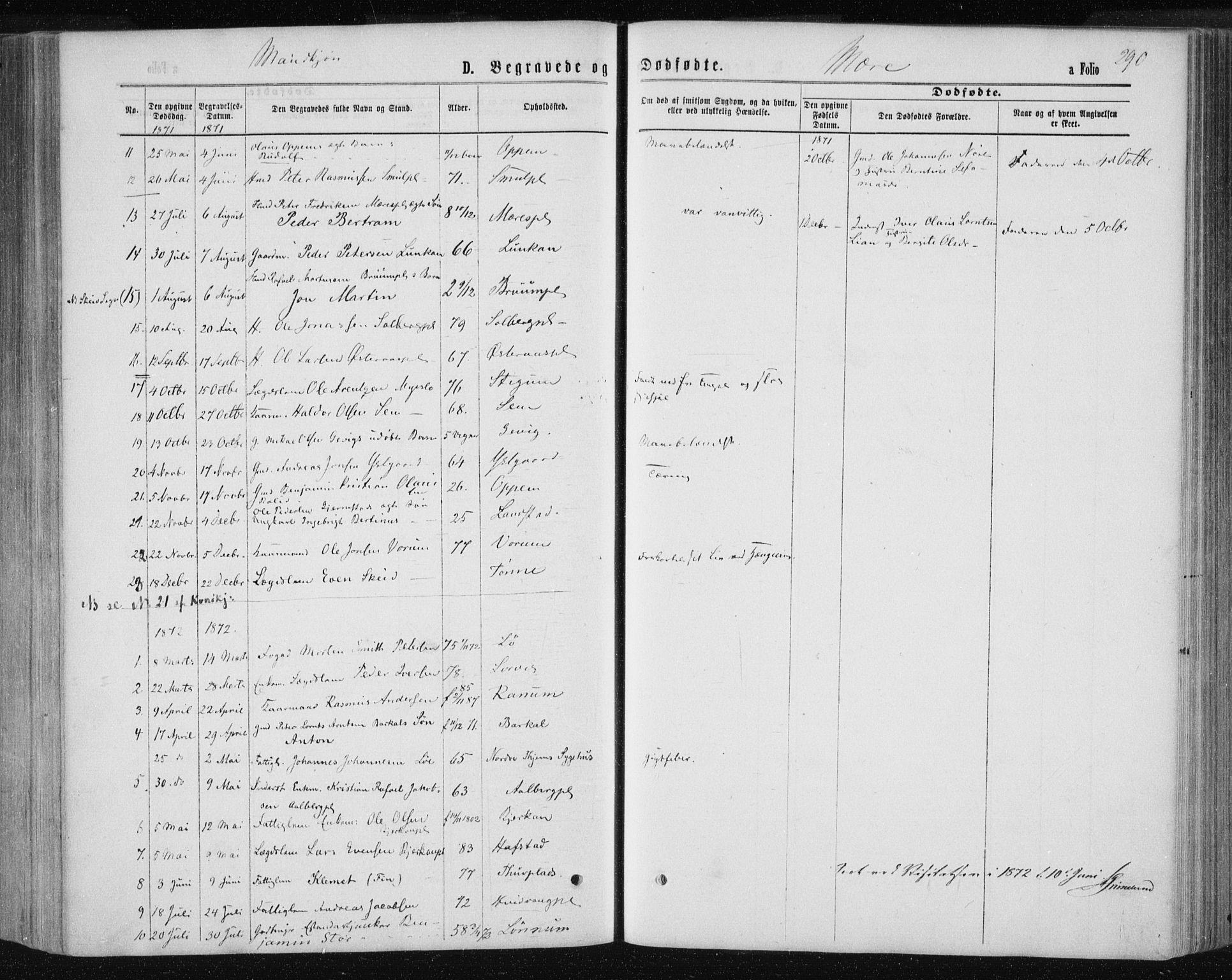 SAT, Ministerialprotokoller, klokkerbøker og fødselsregistre - Nord-Trøndelag, 735/L0345: Ministerialbok nr. 735A08 /1, 1863-1872, s. 290