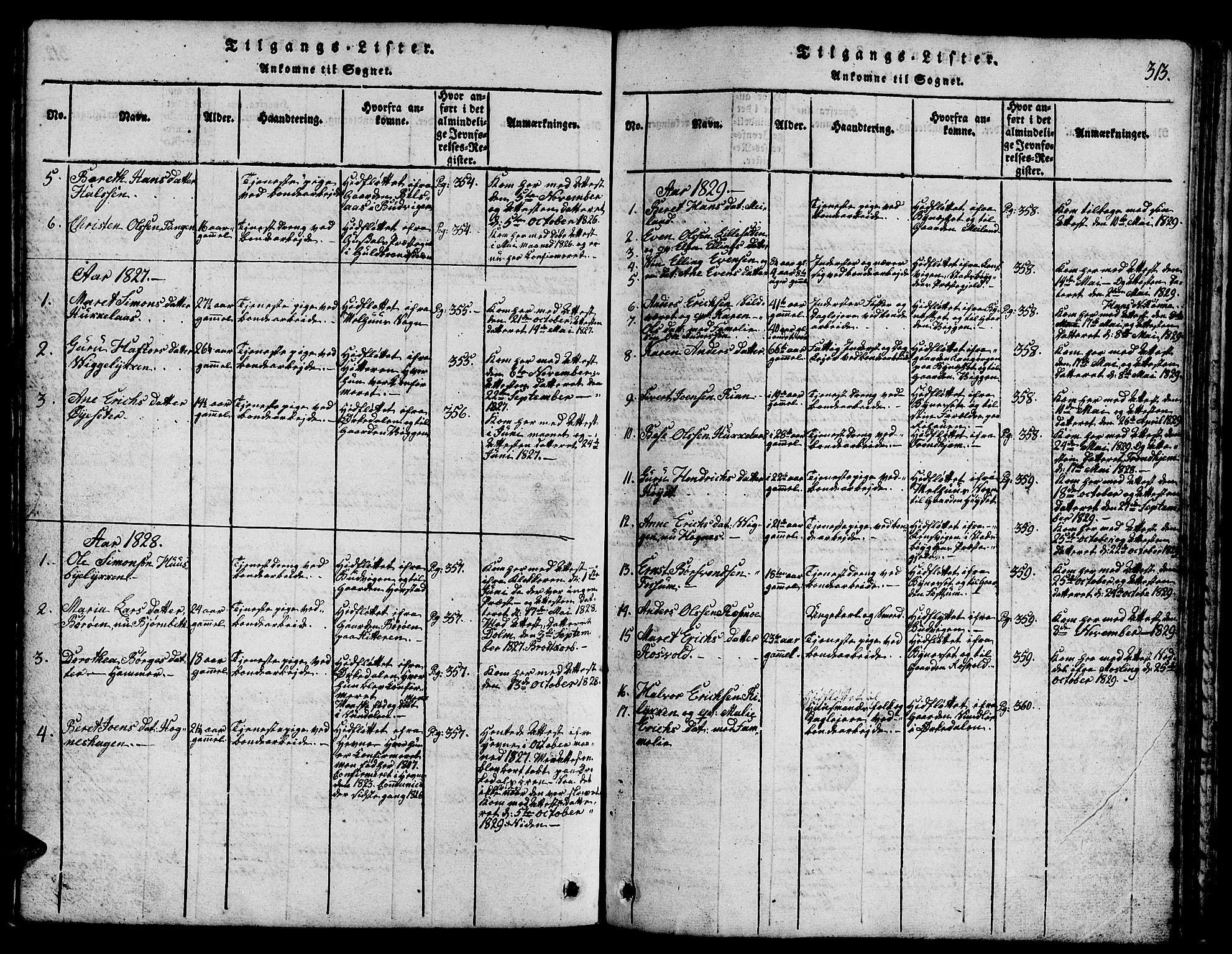 SAT, Ministerialprotokoller, klokkerbøker og fødselsregistre - Sør-Trøndelag, 665/L0776: Klokkerbok nr. 665C01, 1817-1837, s. 313