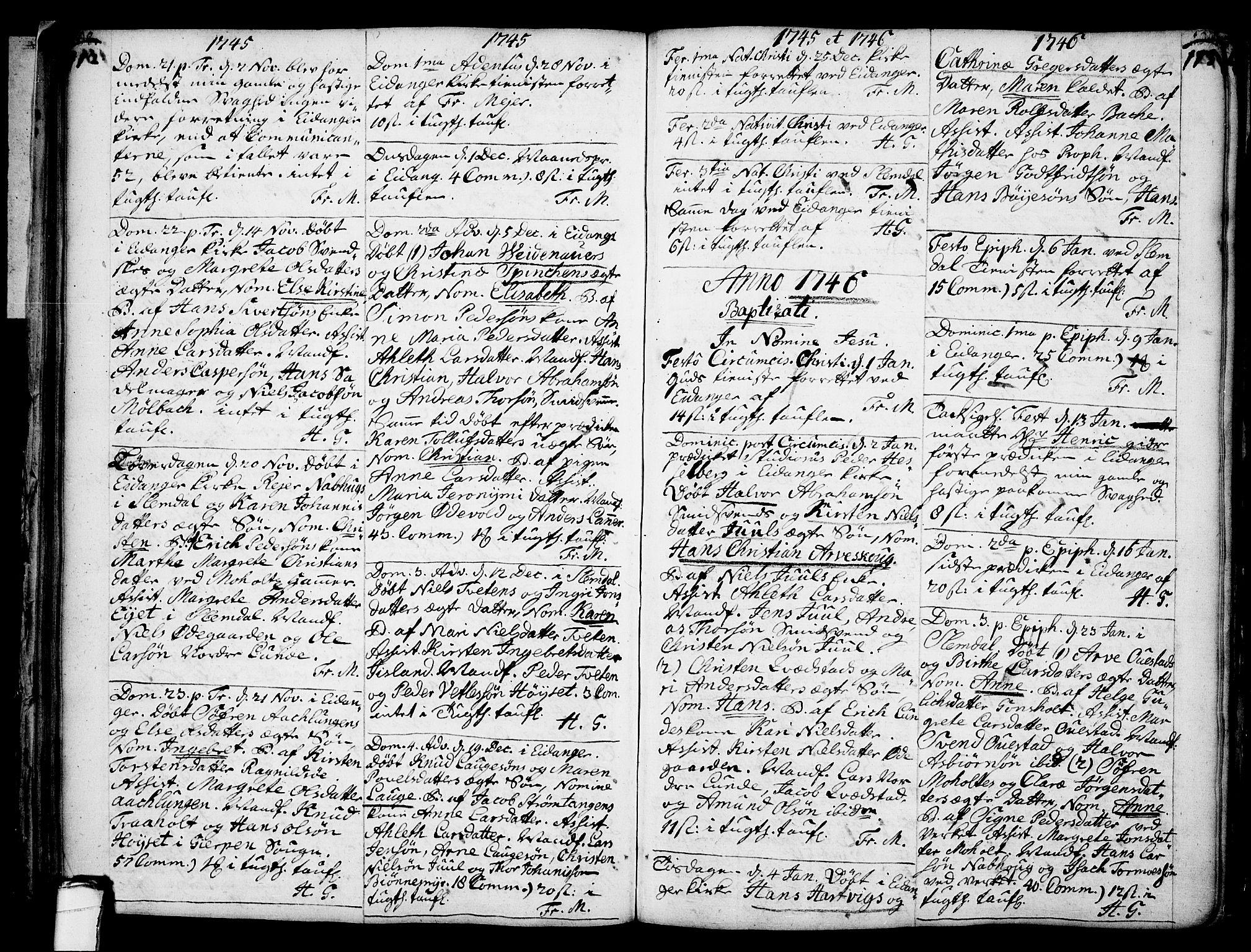 SAKO, Eidanger kirkebøker, F/Fa/L0004: Ministerialbok nr. 4, 1733-1759, s. 112-113