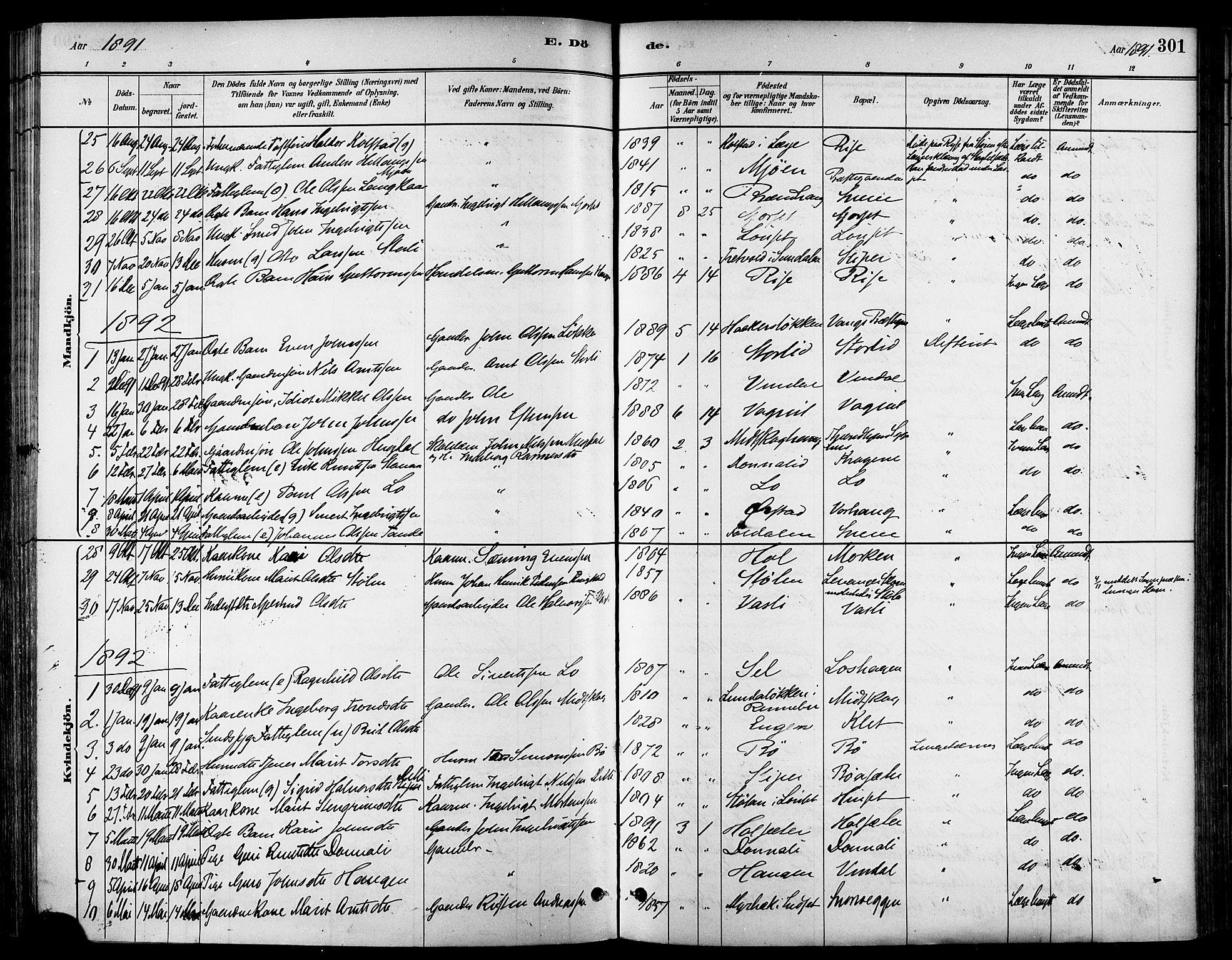 SAT, Ministerialprotokoller, klokkerbøker og fødselsregistre - Sør-Trøndelag, 678/L0901: Ministerialbok nr. 678A10, 1881-1894, s. 301