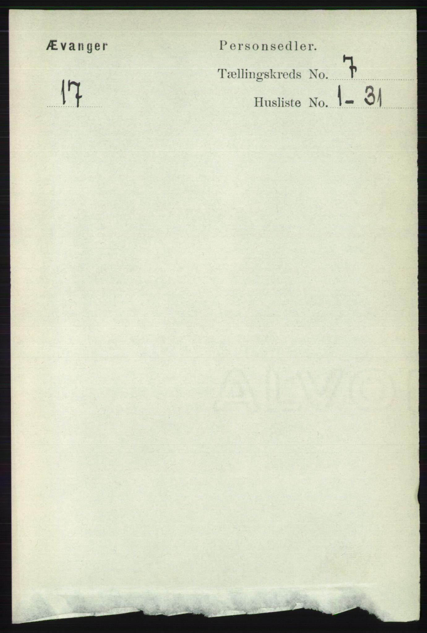 RA, Folketelling 1891 for 1237 Evanger herred, 1891, s. 1877