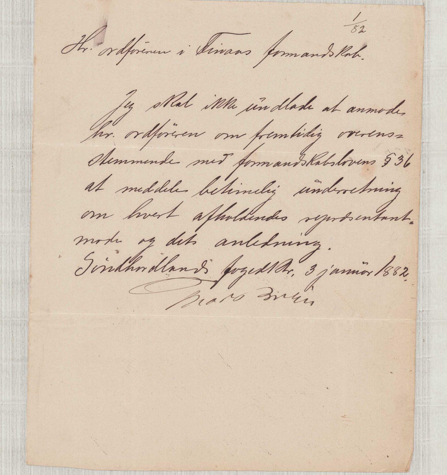 IKAH, Finnaas kommune. Formannskapet, D/Da/L0001: Korrespondanse / saker, 1882, s. 1