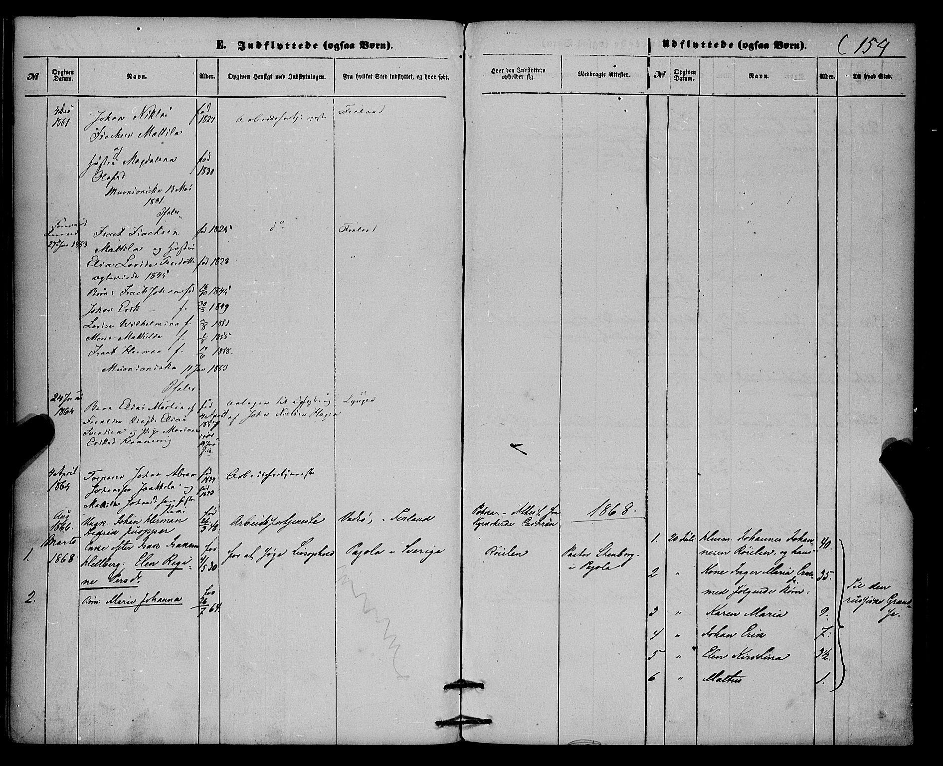 SATØ, Skjervøy sokneprestkontor, H/Ha/Haa/L0013kirke: Ministerialbok nr. 13, 1863-1877, s. 154