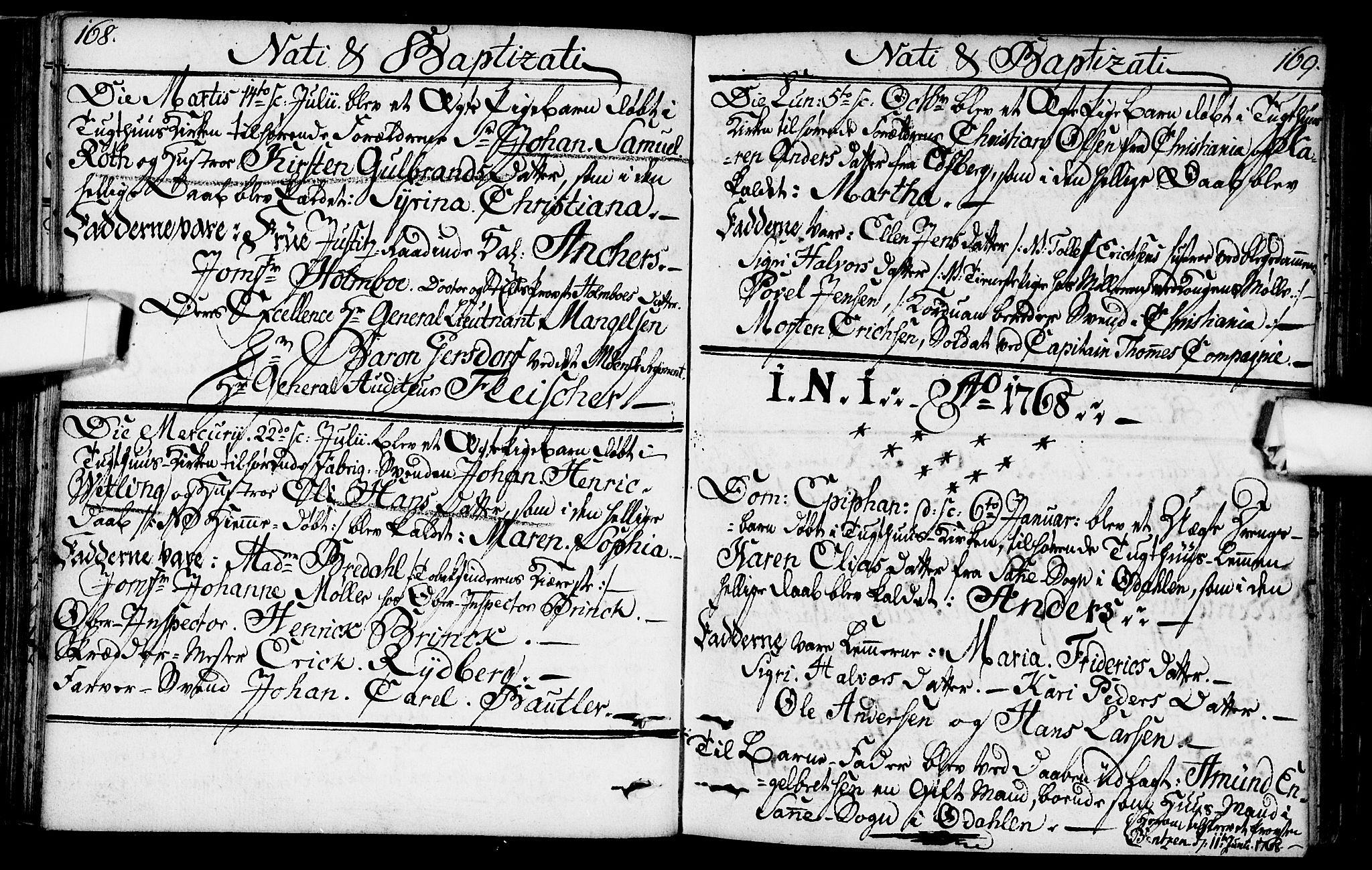 SAO, Kristiania tukthusprest Kirkebøker, F/Fa/L0001: Ministerialbok nr. 1, 1758-1828, s. 168-169