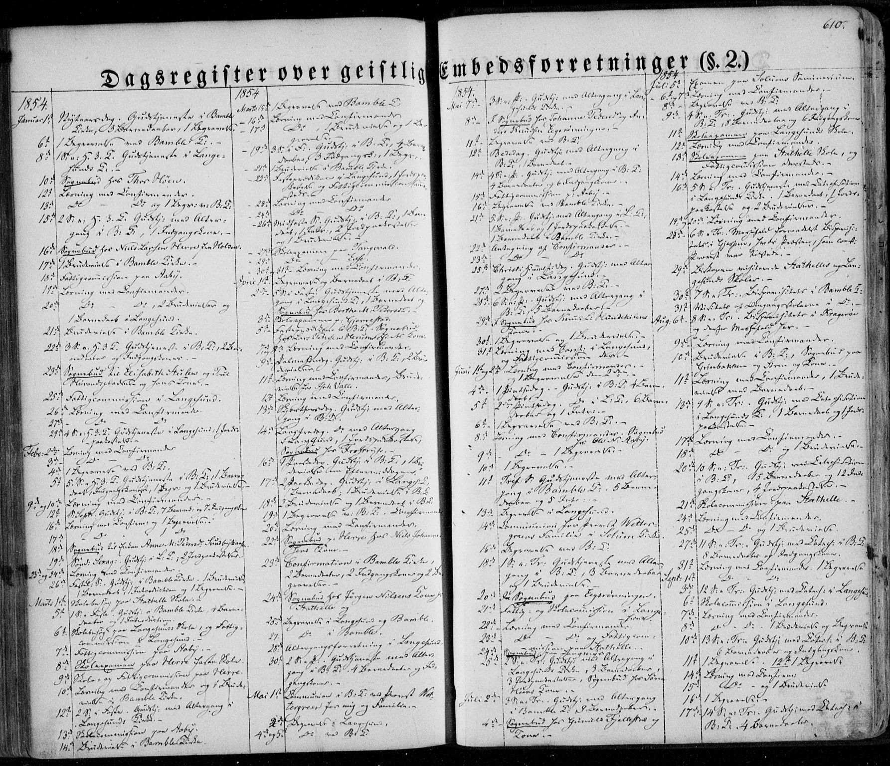 SAKO, Bamble kirkebøker, F/Fa/L0005: Ministerialbok nr. I 5, 1854-1869, s. 610