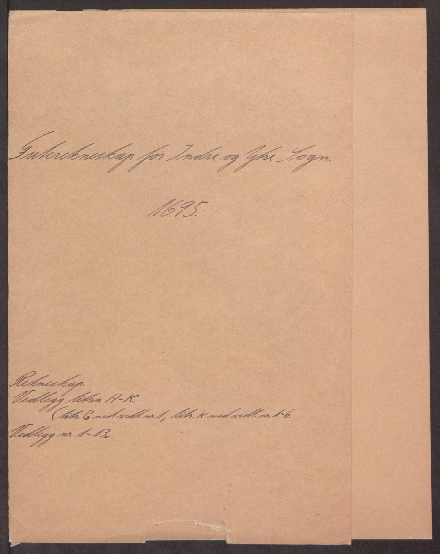 RA, Rentekammeret inntil 1814, Reviderte regnskaper, Fogderegnskap, R52/L3308: Fogderegnskap Sogn, 1695, s. 2