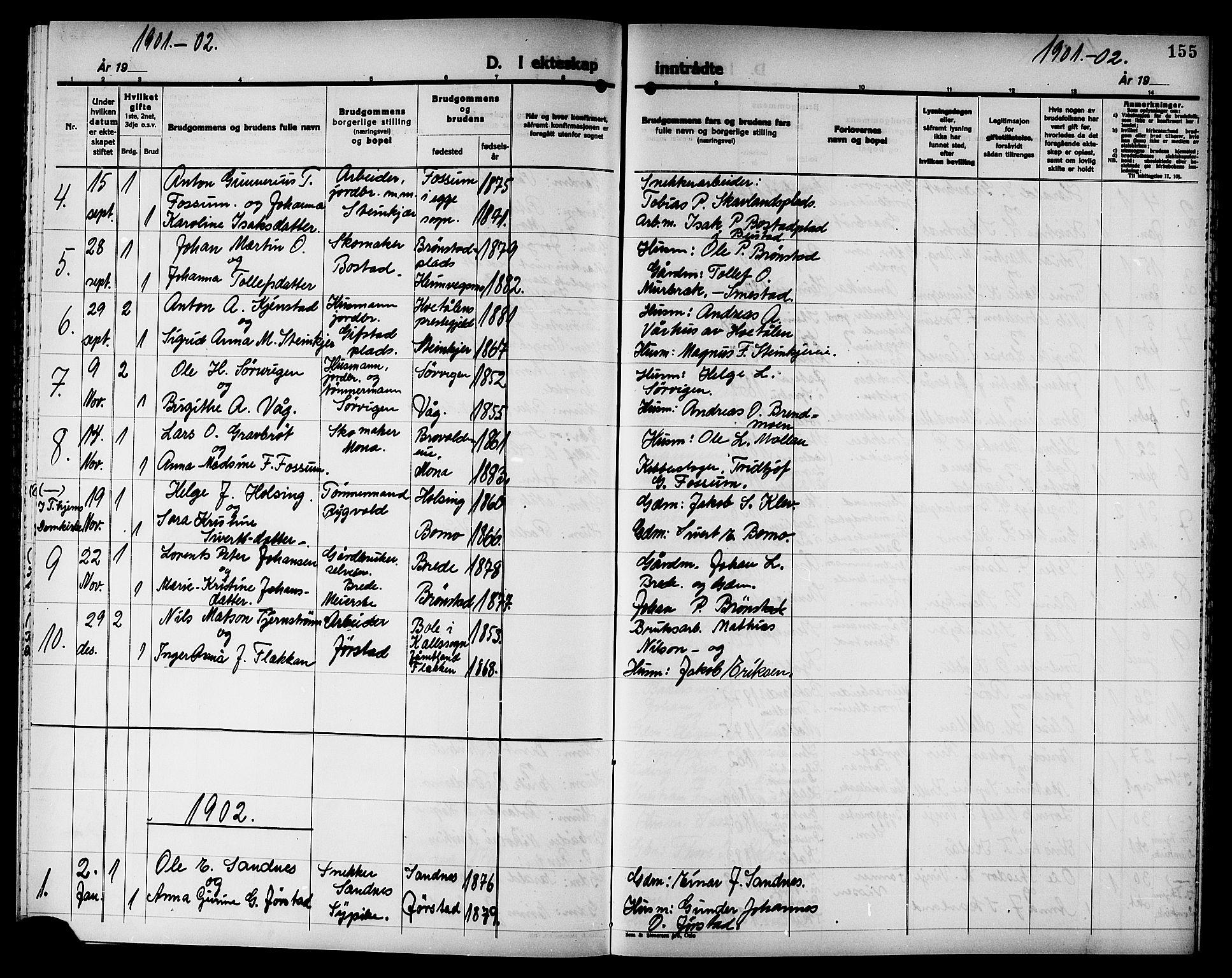 SAT, Ministerialprotokoller, klokkerbøker og fødselsregistre - Nord-Trøndelag, 749/L0487: Ministerialbok nr. 749D03, 1887-1902, s. 155
