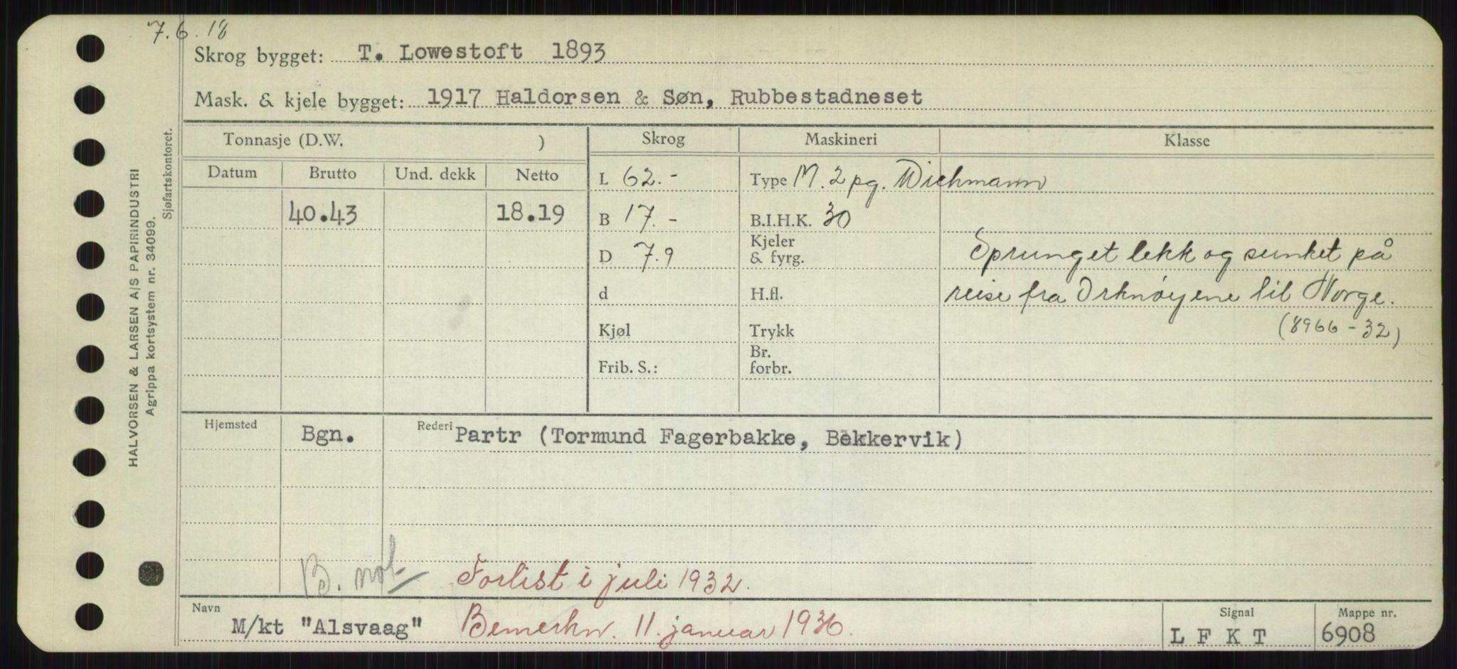 RA, Sjøfartsdirektoratet med forløpere, Skipsmålingen, H/Hd/L0001: Fartøy, A-Anv, s. 409