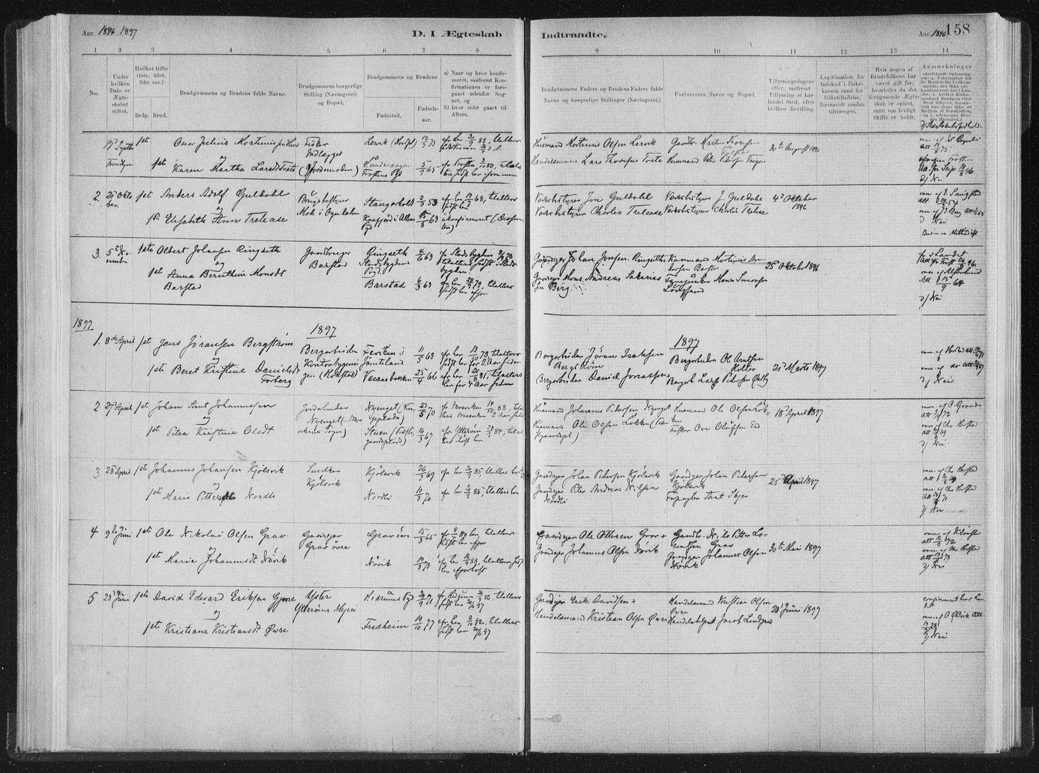 SAT, Ministerialprotokoller, klokkerbøker og fødselsregistre - Nord-Trøndelag, 722/L0220: Ministerialbok nr. 722A07, 1881-1908, s. 158
