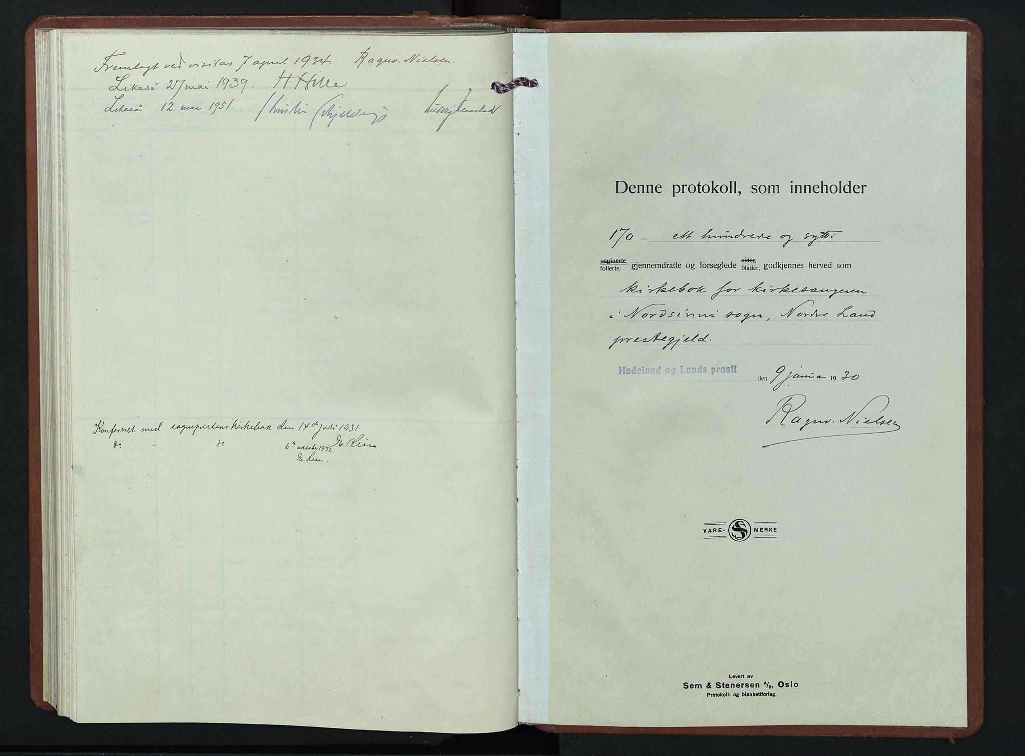 SAH, Nordre Land prestekontor, Klokkerbok nr. 7, 1930-1953