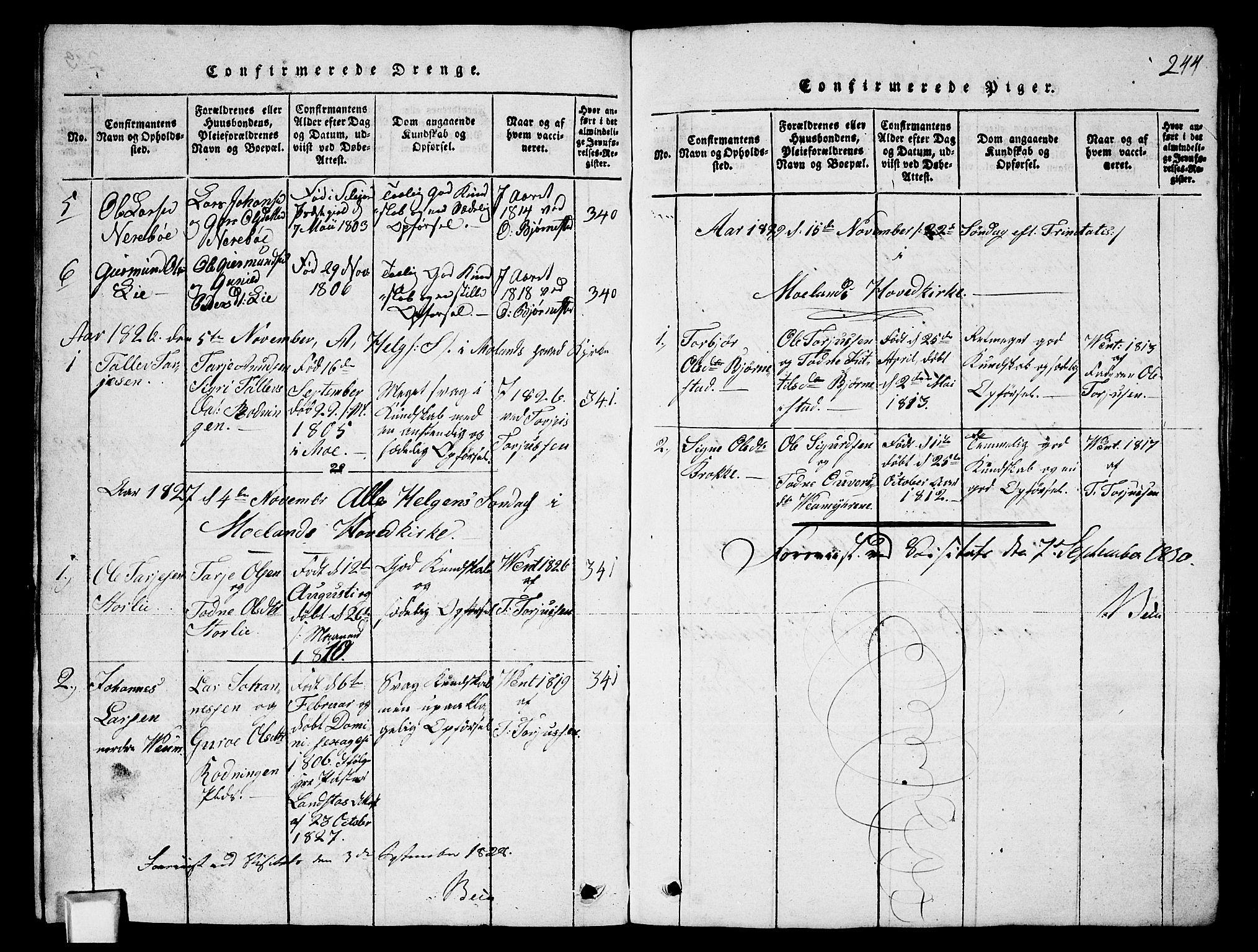 SAKO, Fyresdal kirkebøker, G/Ga/L0003: Klokkerbok nr. I 3, 1815-1863, s. 244
