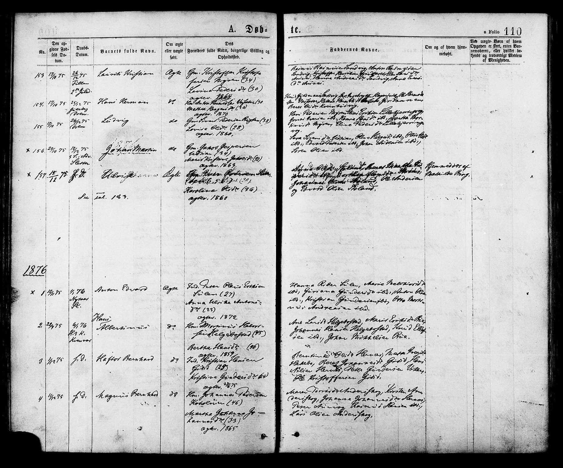 SAT, Ministerialprotokoller, klokkerbøker og fødselsregistre - Sør-Trøndelag, 634/L0532: Ministerialbok nr. 634A08, 1871-1881, s. 110