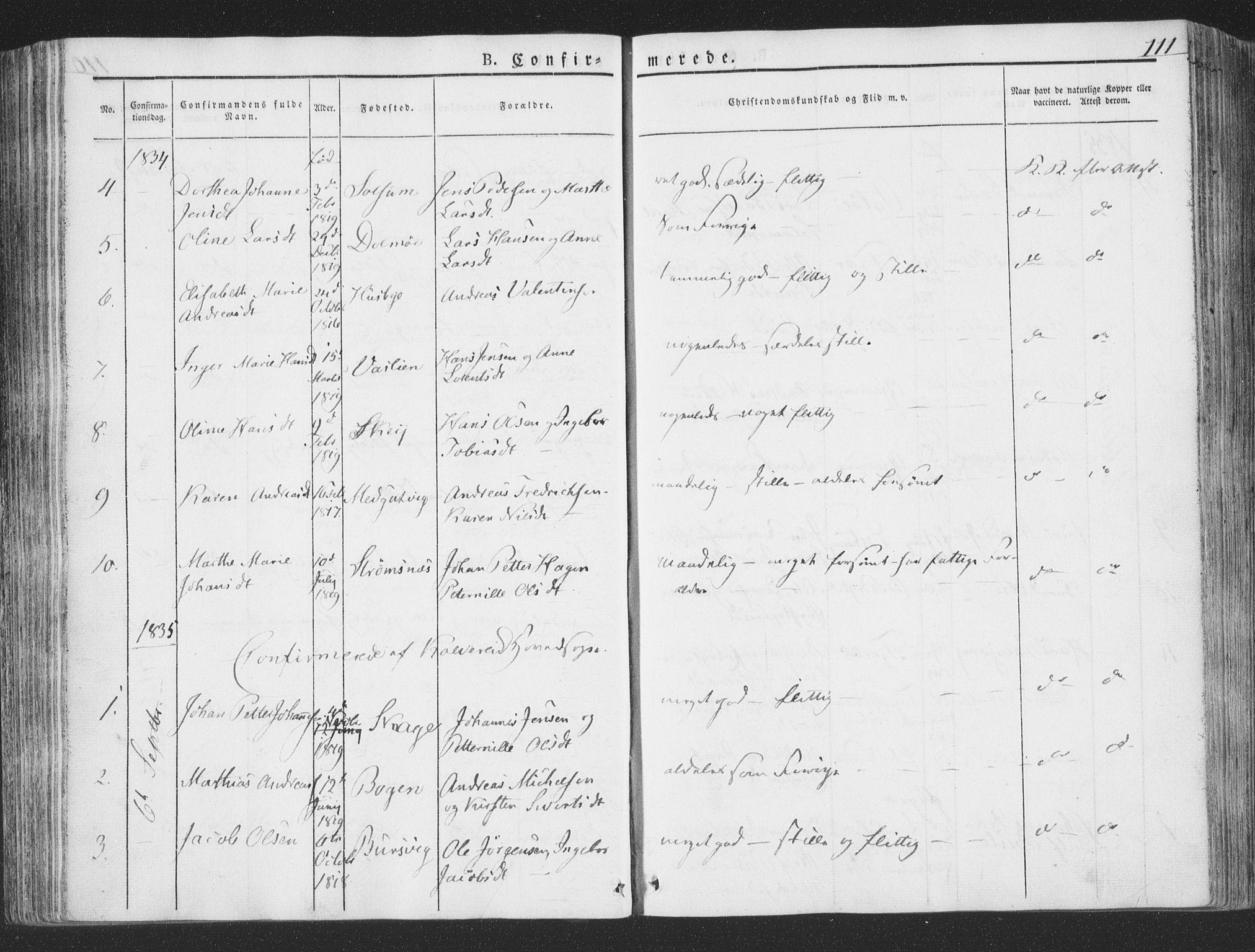 SAT, Ministerialprotokoller, klokkerbøker og fødselsregistre - Nord-Trøndelag, 780/L0639: Ministerialbok nr. 780A04, 1830-1844, s. 111