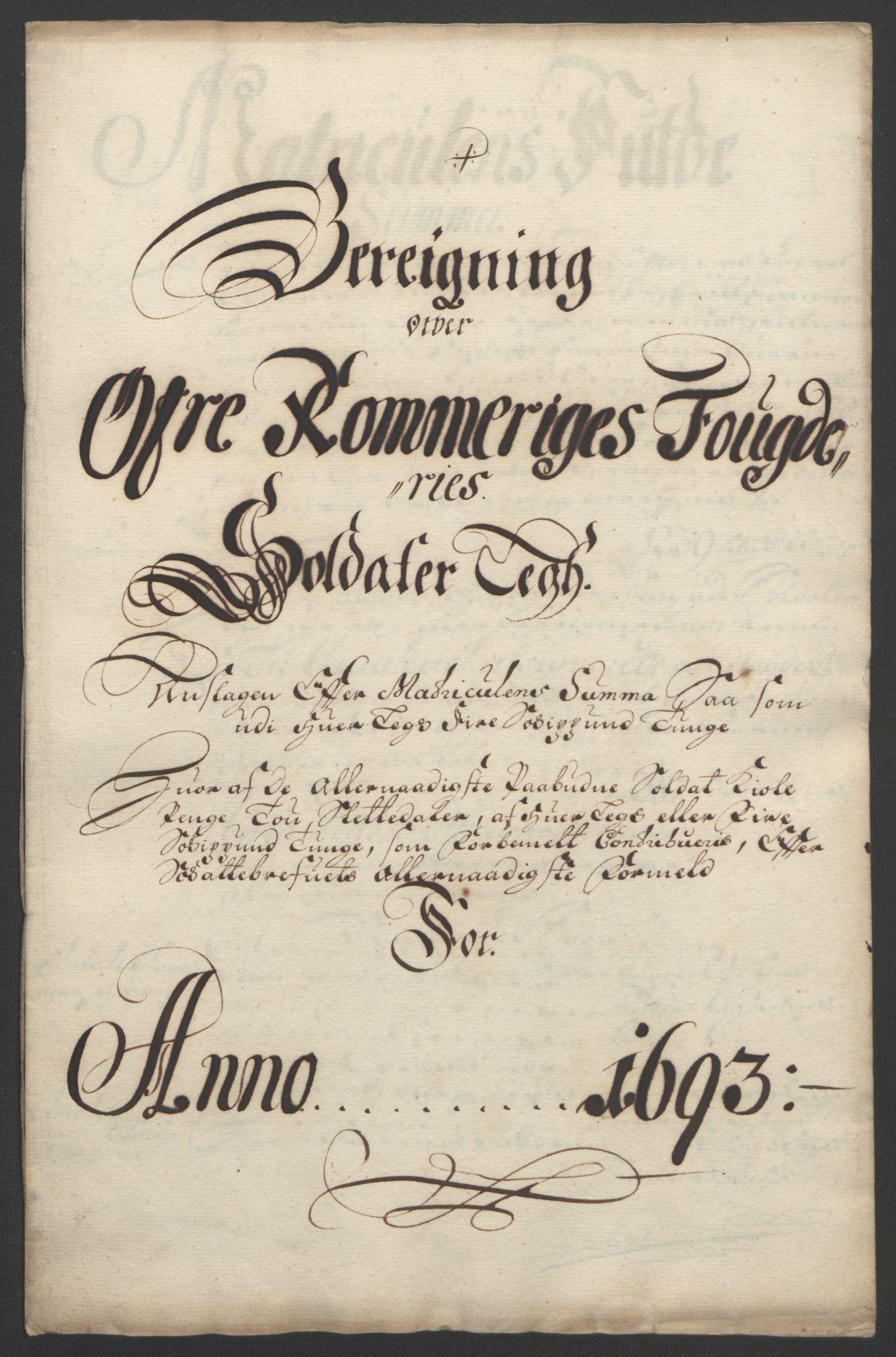 RA, Rentekammeret inntil 1814, Reviderte regnskaper, Fogderegnskap, R12/L0705: Fogderegnskap Øvre Romerike, 1693, s. 218