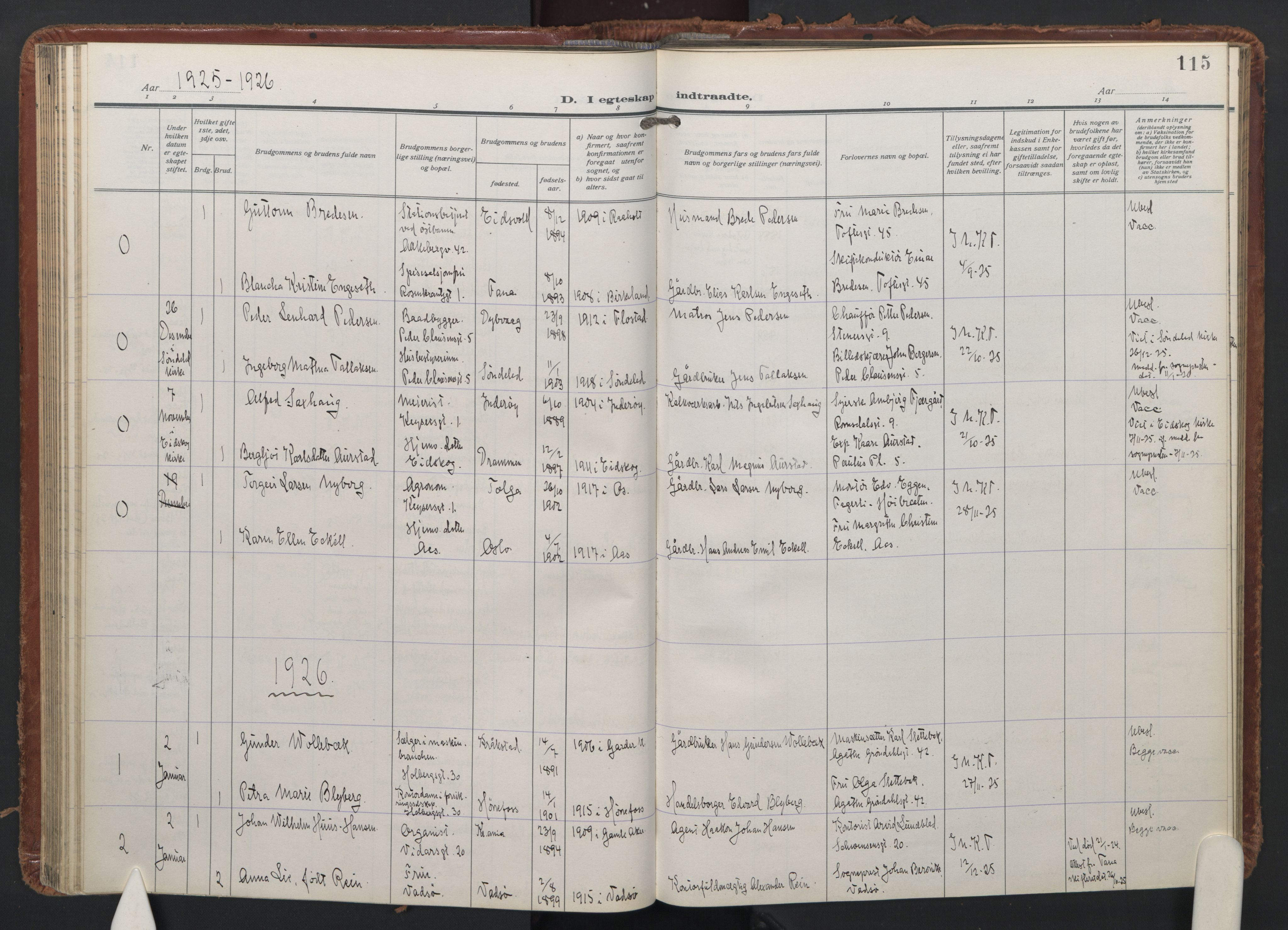 SAO, Trefoldighet prestekontor Kirkebøker, F/Fc/L0009: Ministerialbok nr. III 9, 1922-1936, s. 115